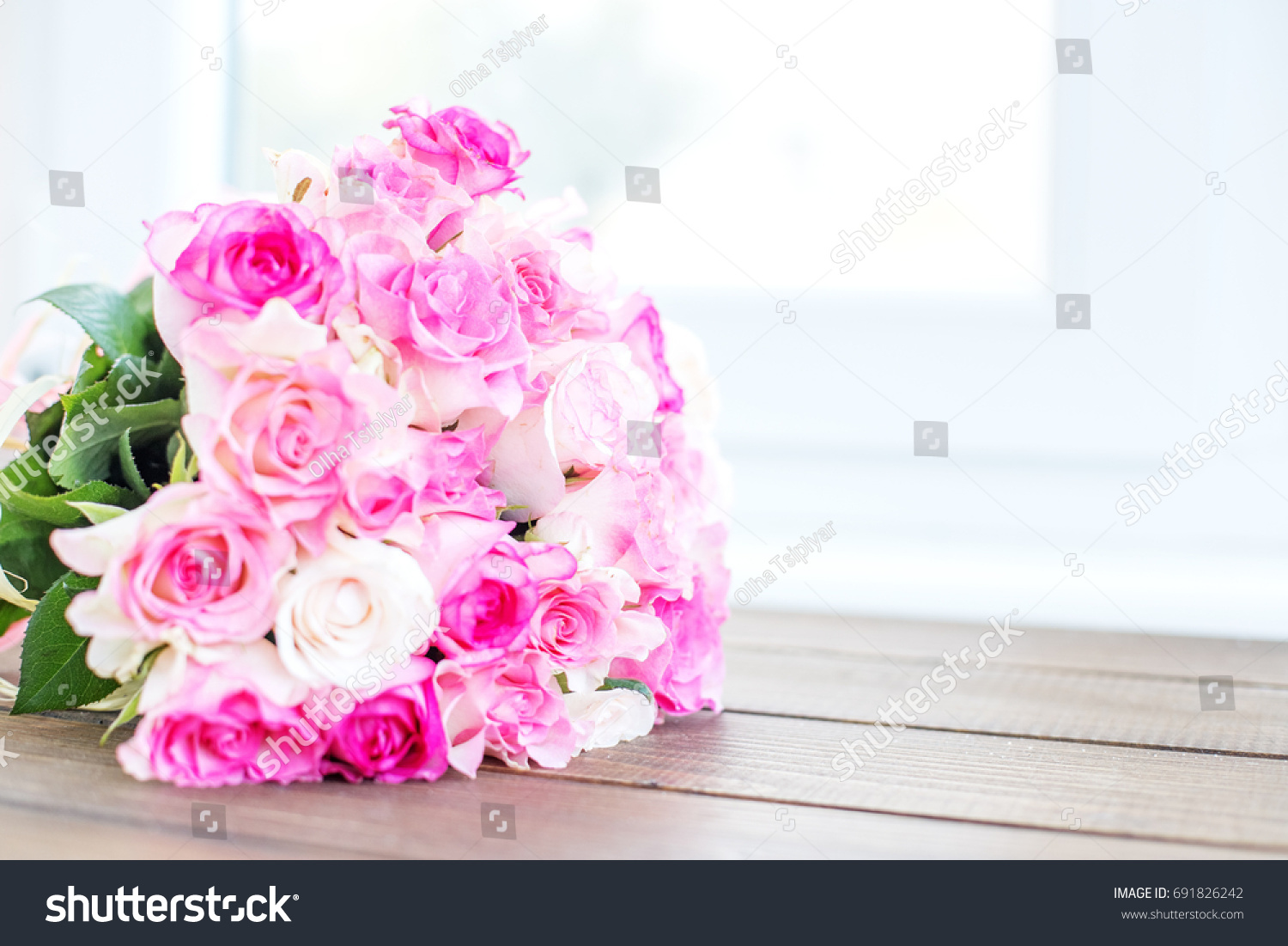 Bouquet Of Pink Roses Place For The Inscription Concept Happy