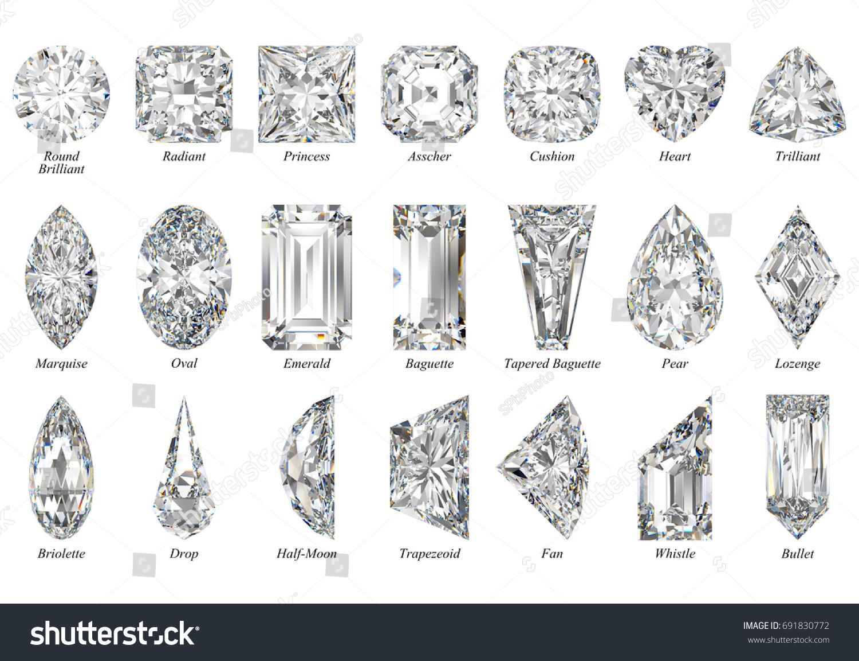 Twenty One Various Diamond Cut Shapes Stockillustration 691830772