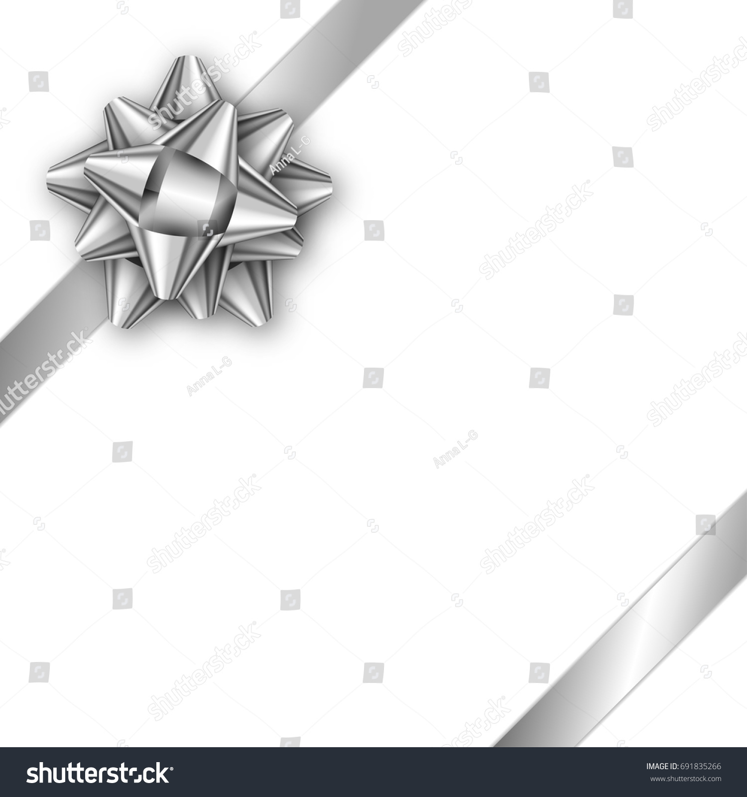 Holiday Gift Card With Silver Ribbon And Bow Template For A Business Banner