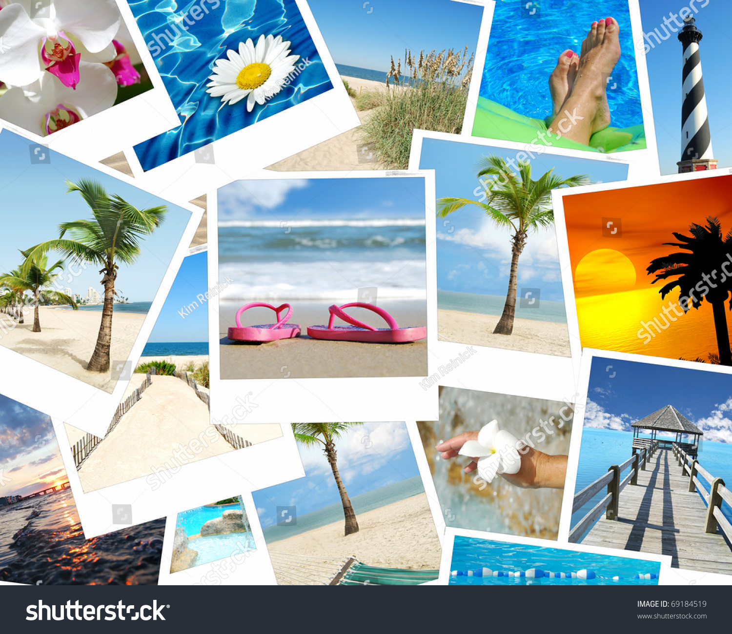 Background Vacation Photo Collage Tropical Stock Photo