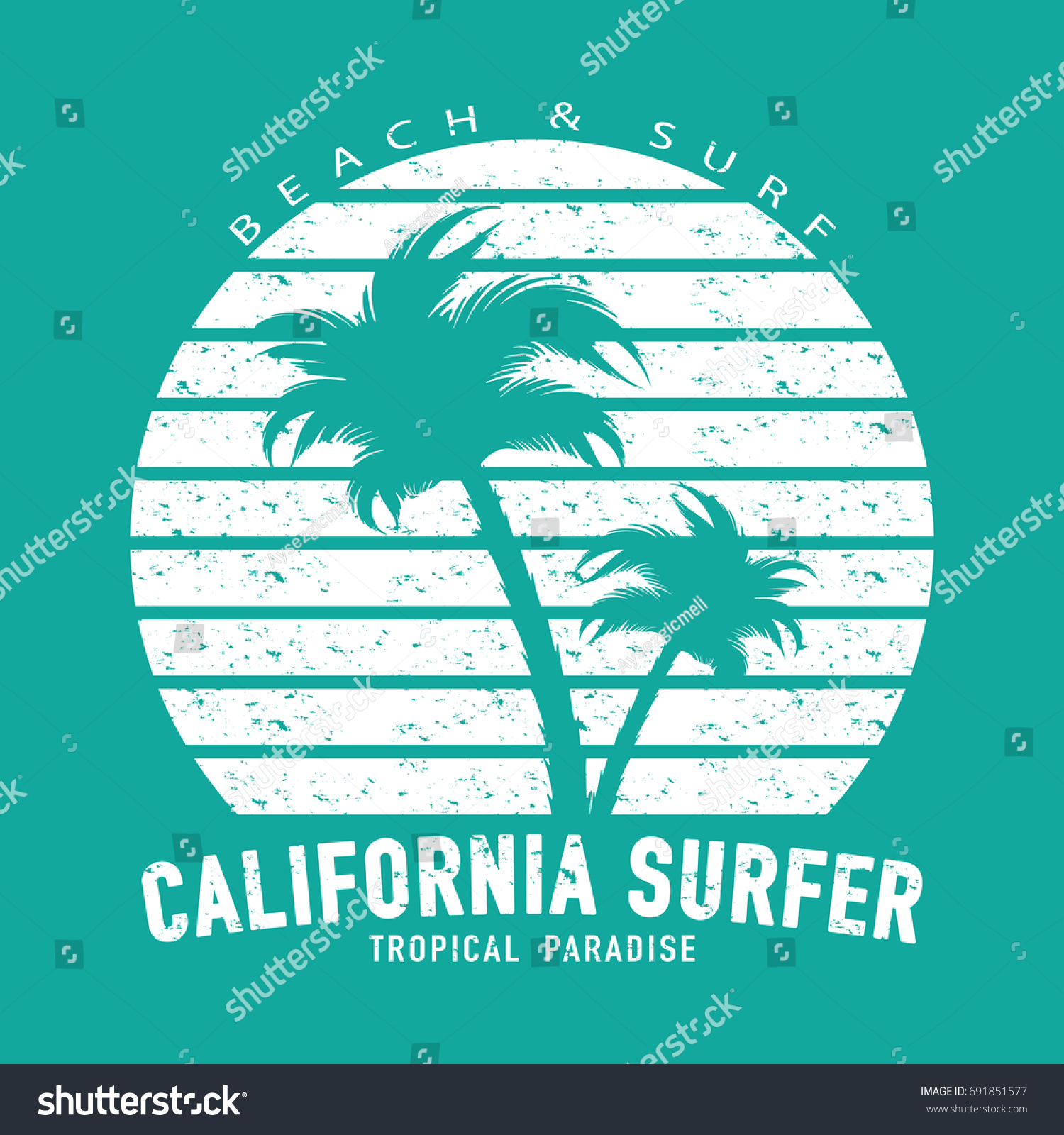 12dffa61 California surfer typography with palm trees / Summer vacations beach surf  concept t shirt graphic /