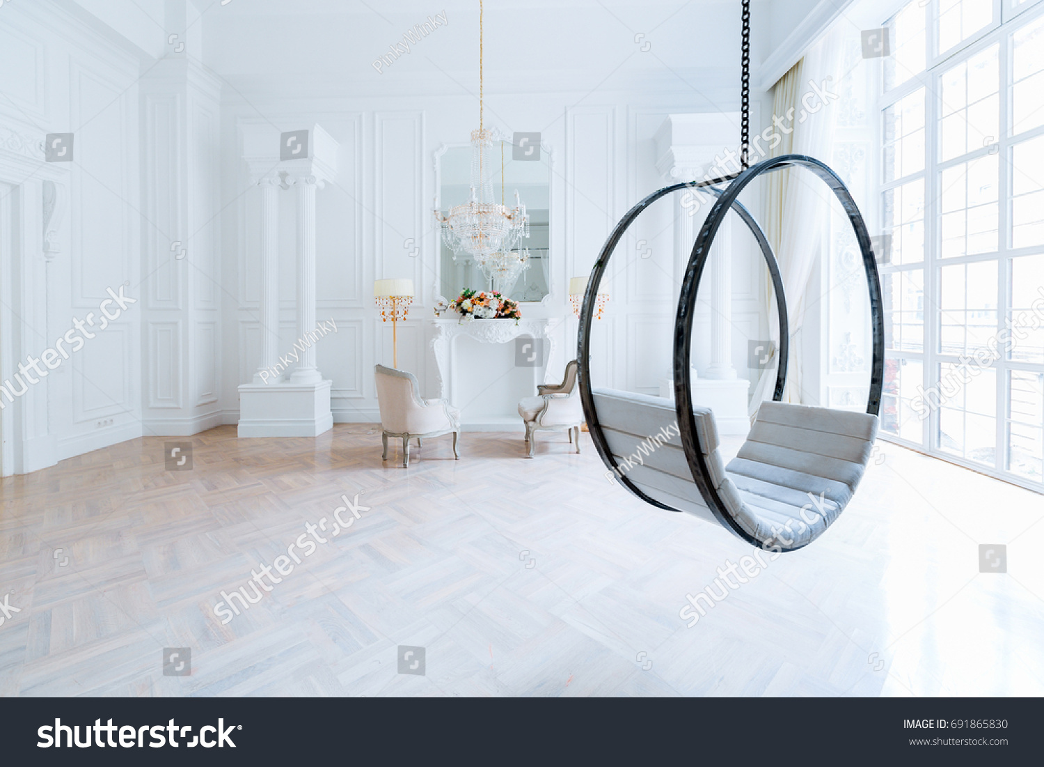 Modern light clean rich baroque style stock photo 691865830 modern light clean rich baroque style interior with swing dailygadgetfo Image collections