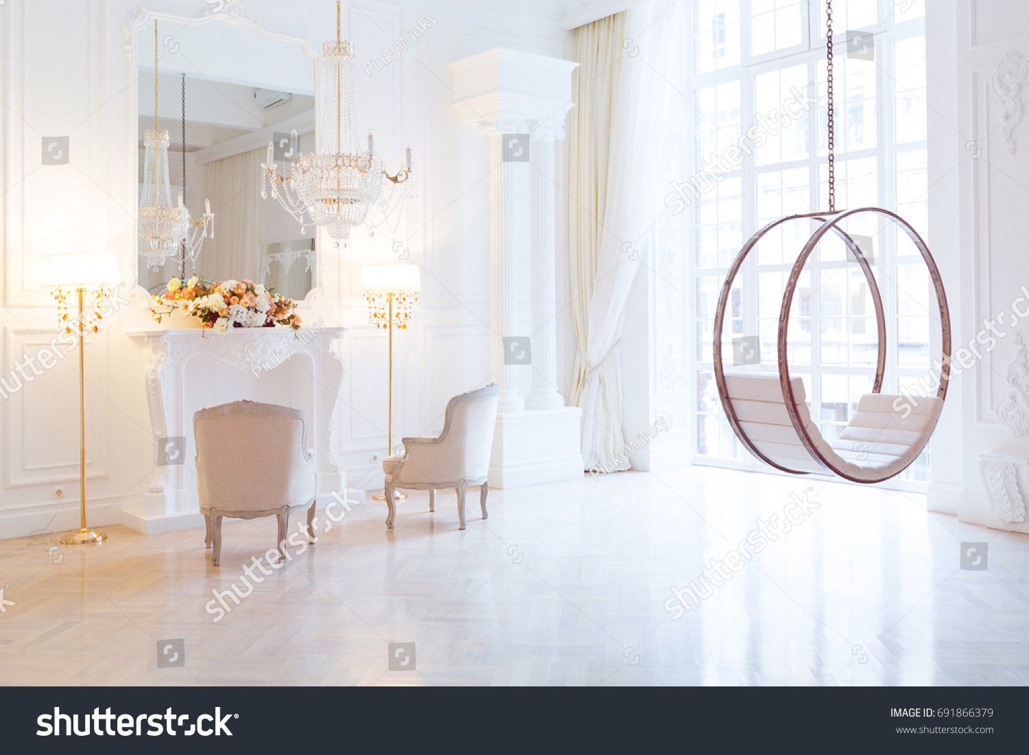Modern light clean rich baroque style stock photo 691866379 modern light clean rich baroque style interior with swing dailygadgetfo Image collections