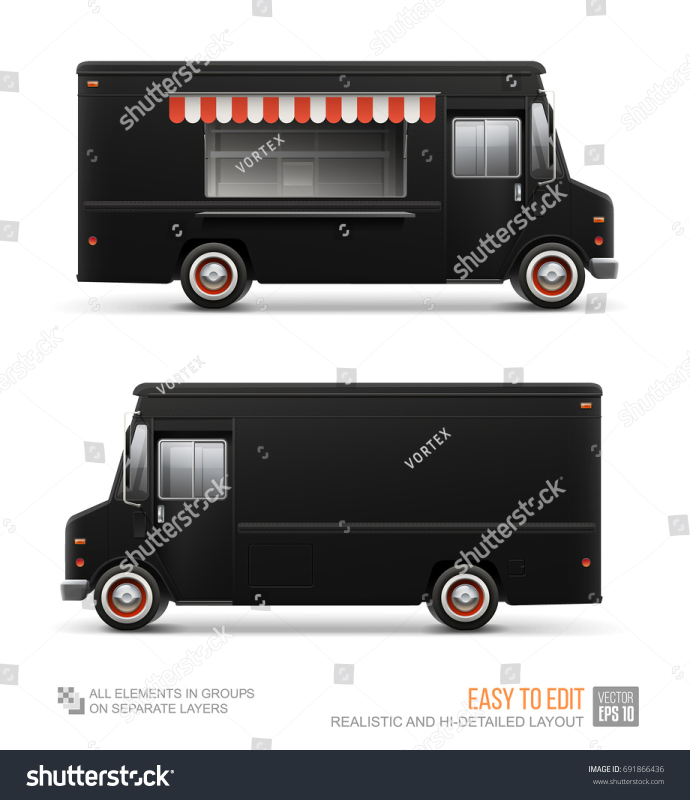 Black food truck vector template mockup stock vector 691866436 black food truck vector template for mockup brand identity blank delivery van isolated on pronofoot35fo Images