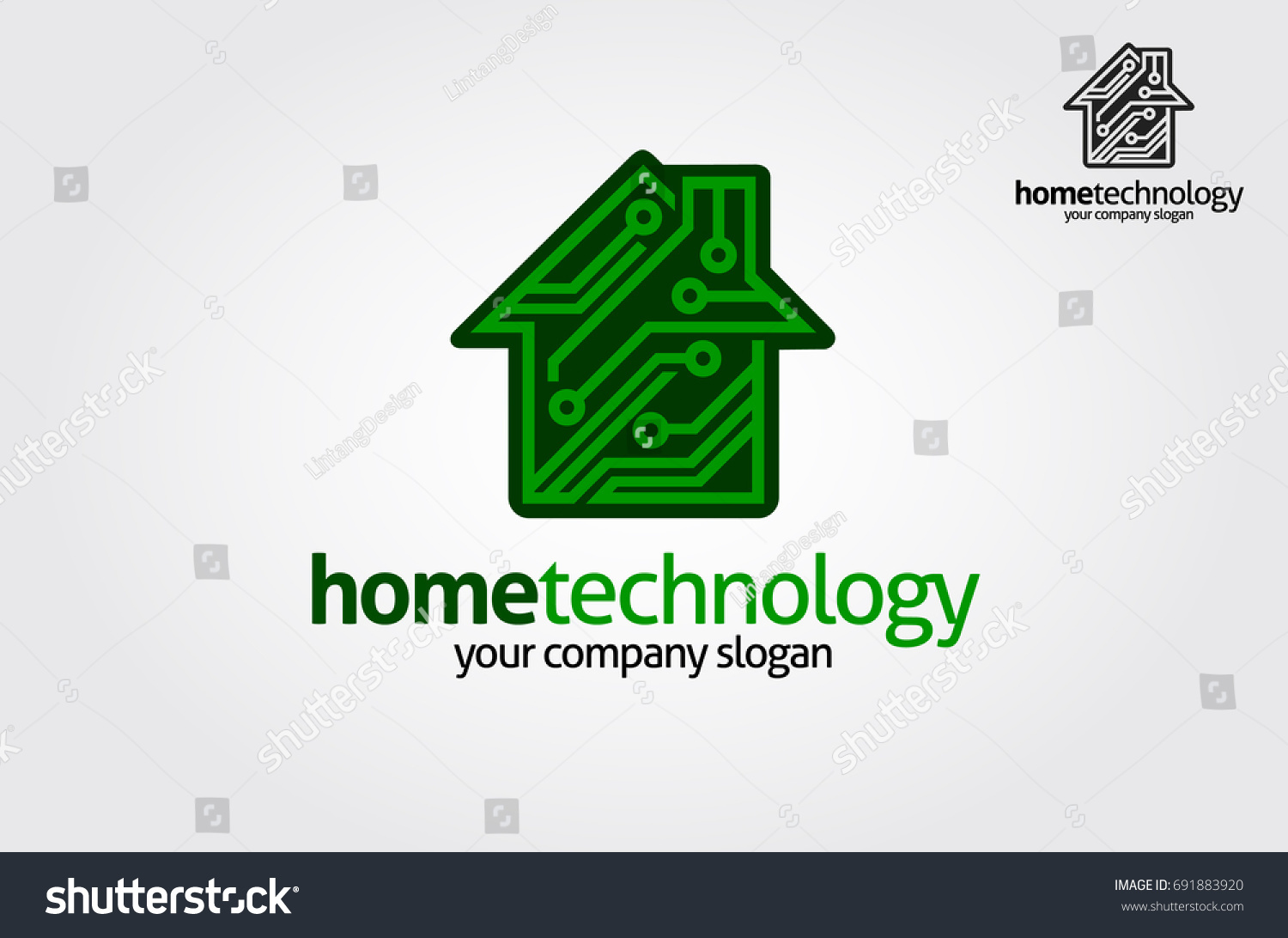 Home Technology Logo Template This Logo Stock Vector