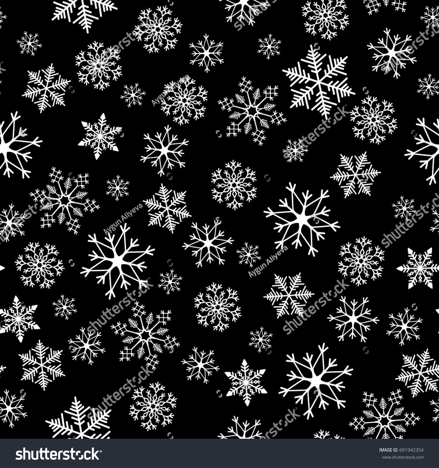 Snowflake Simple Seamless Pattern Abstract Wallpaper Stock Vector