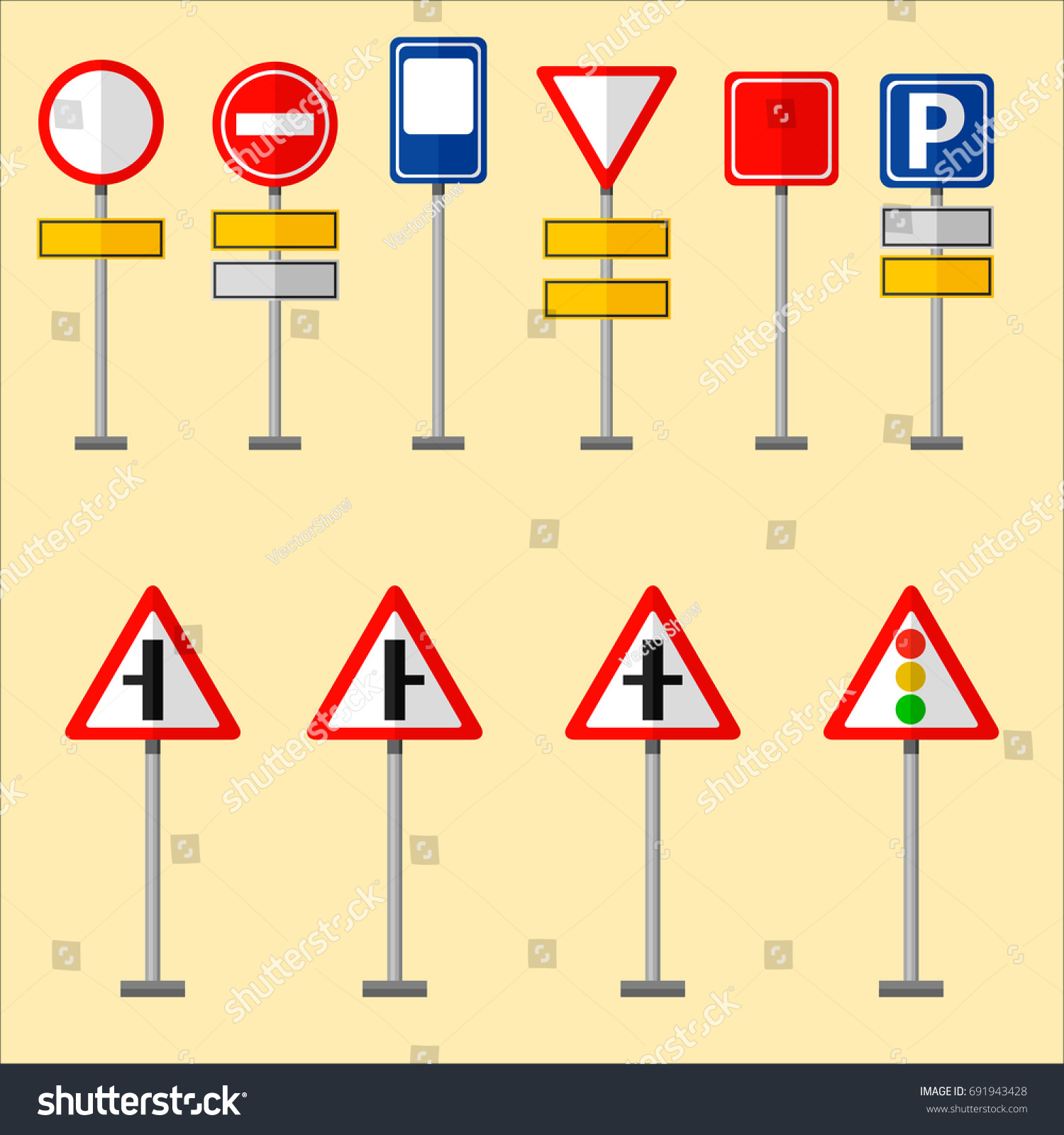 Road Symbols Traffic Signs Graphic Elements Stock Vector Royalty