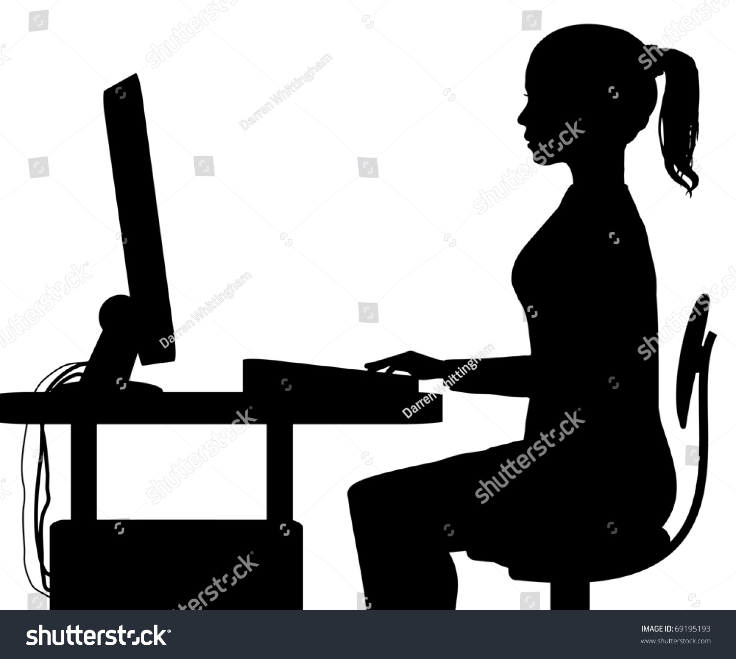 Silhouette Girl Sitting Computer Stock Illustration ...