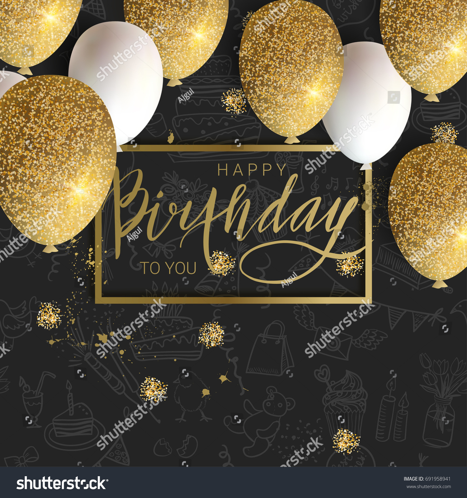 Happy Birthday DesignWhite And Golden Glitter Balloons Calligraphi On The Doodle Background