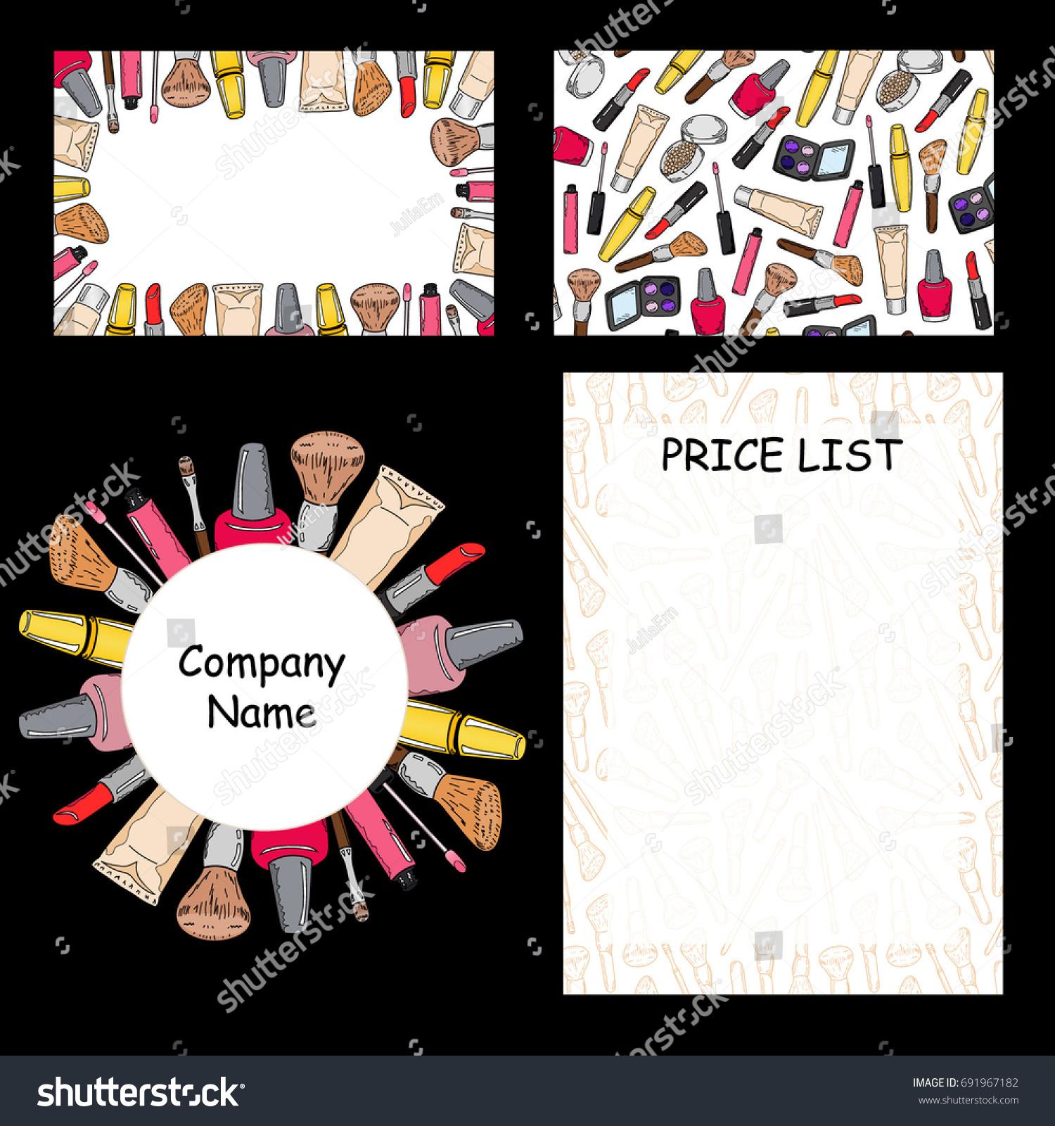 set beauty salon makeup artist business stock vector