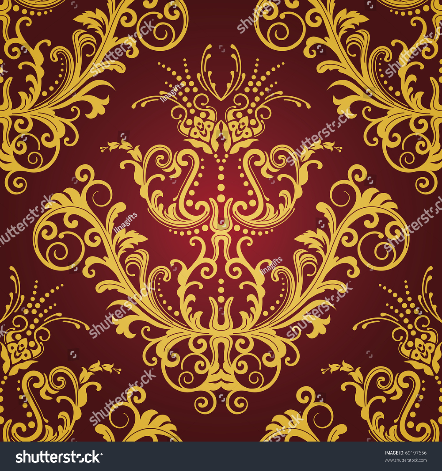 Red And Gold Floral Vintage Seamless Wallpaper This Image Is A Vector Illustration