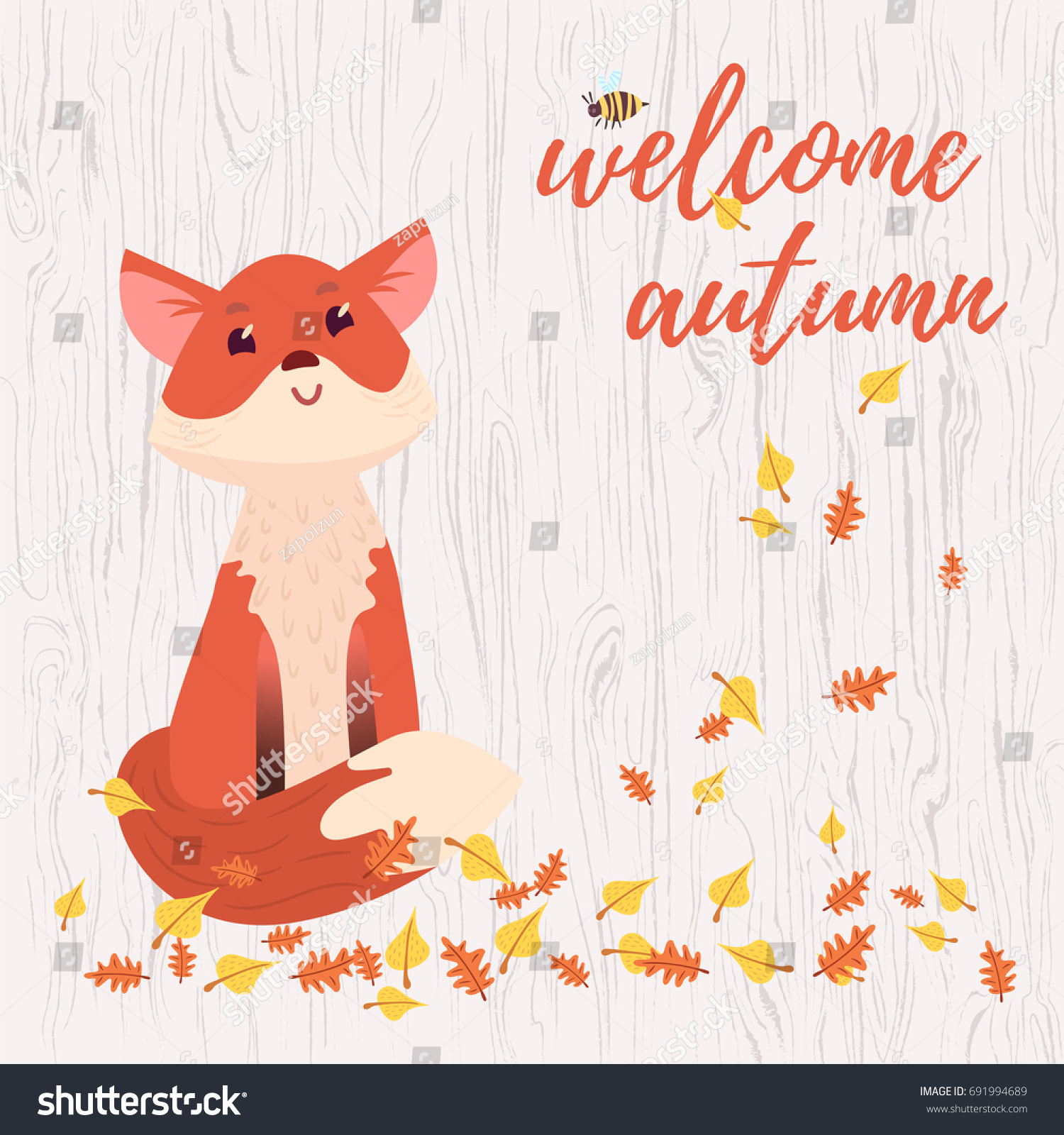 Cute Welcome Autumn Greeting Card Stock Vector Royalty Free Mom N Bab Sweater Orange Fox With Leaves And Bee On Light Gray Wooden