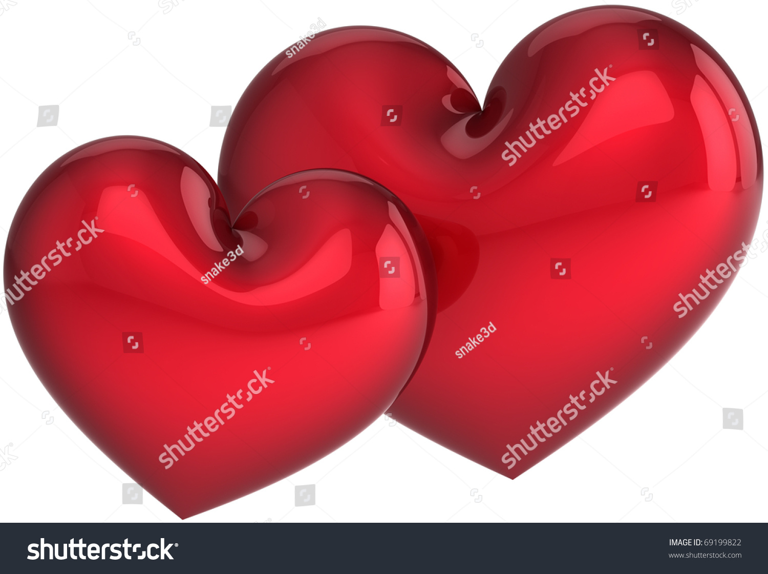 Two Heart Shapes Love You Concept Stock Illustration 69199822 ...