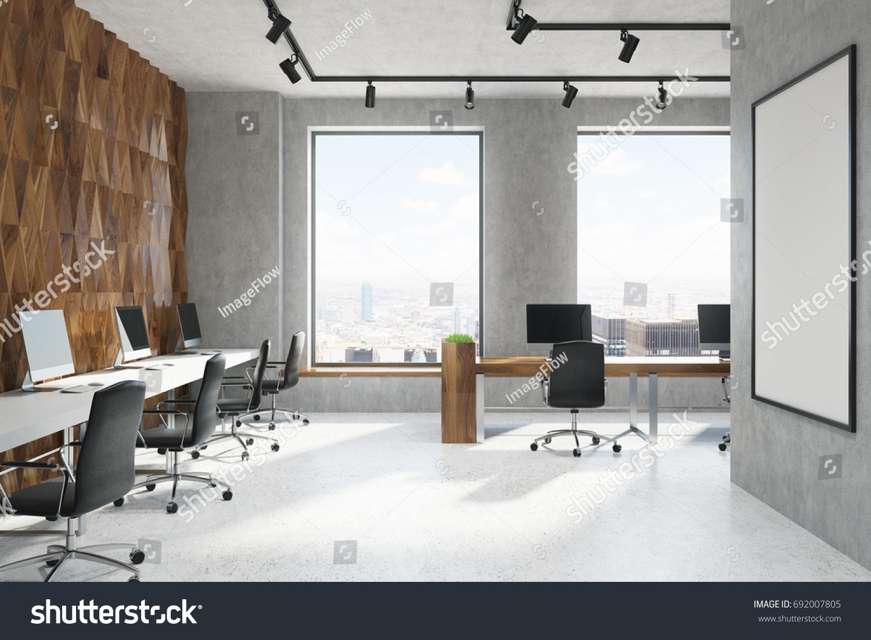 Wooden Diamond Pattern Concrete Wall Office Stock Illustration ...