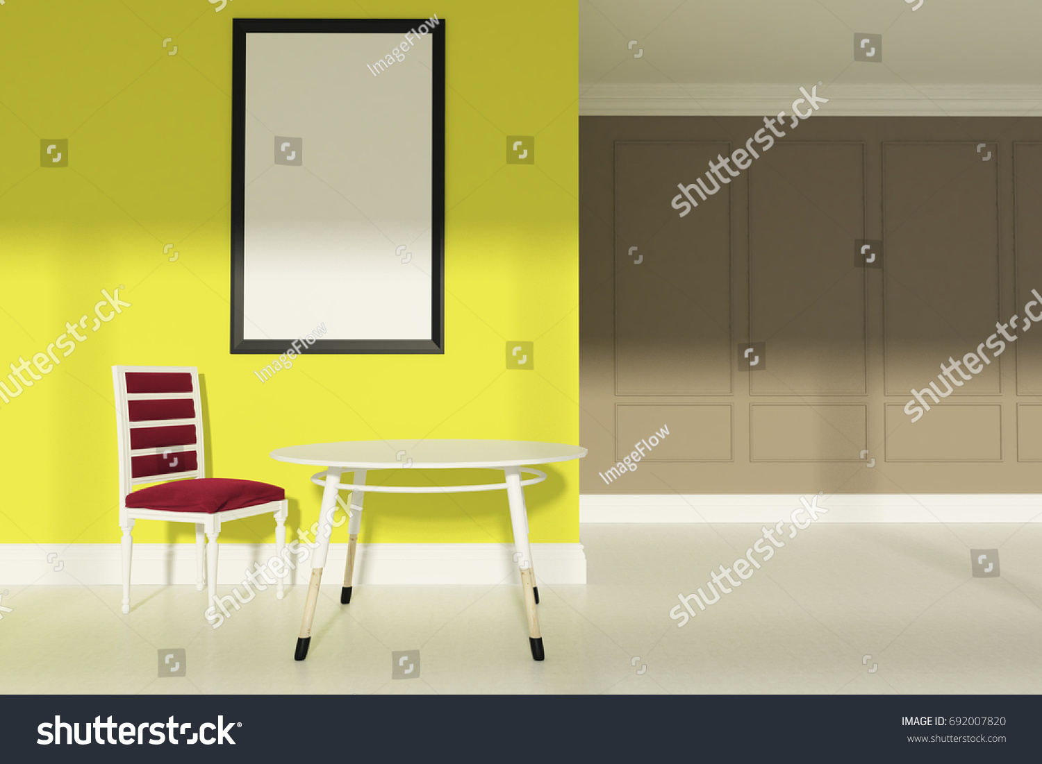 Dining Room Beige Yellow Walls White Stock Illustration 692007820 ...