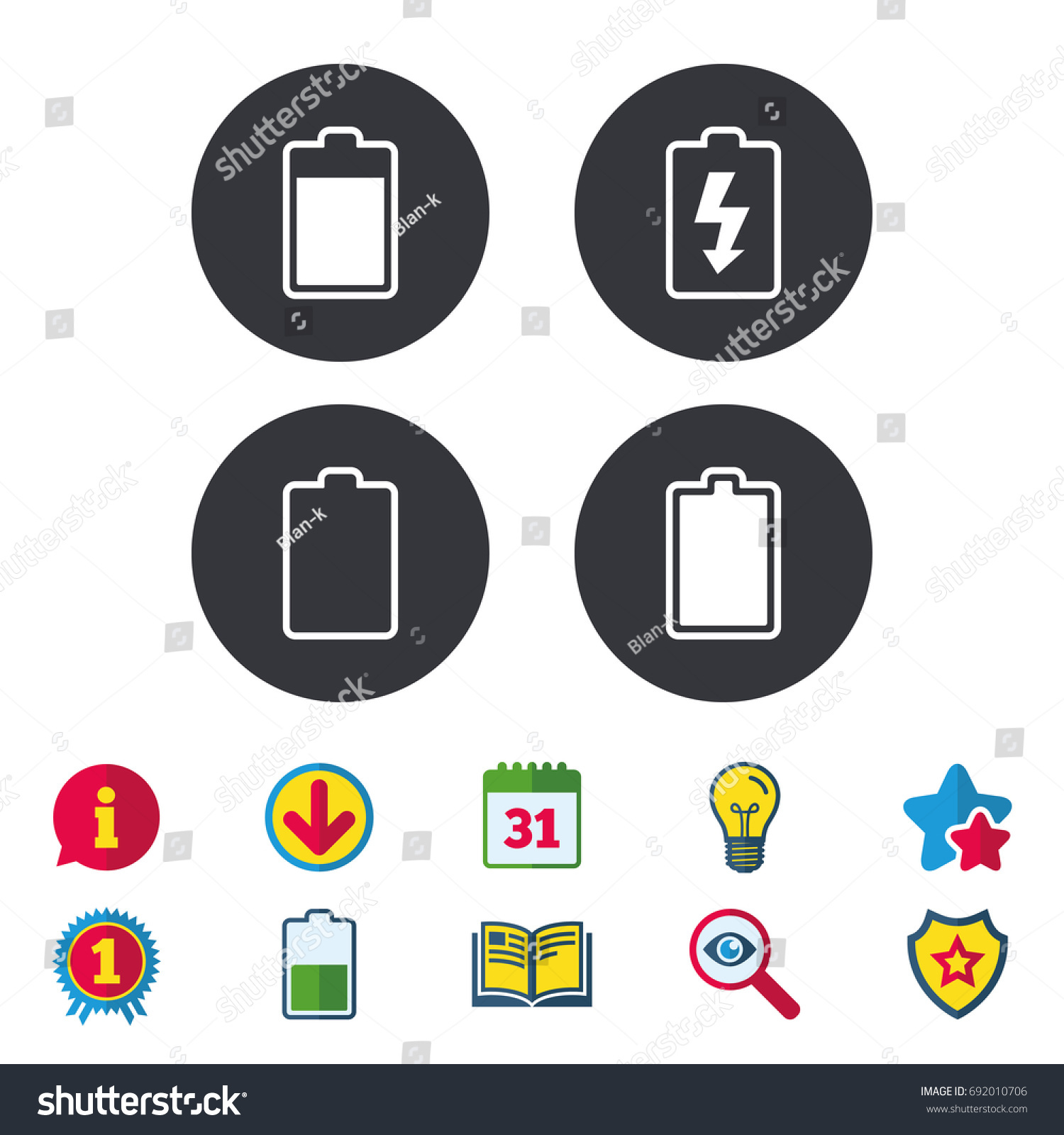 Battery charging icons electricity signs symbols stock vector electricity signs symbols charge levels full empty calendar buycottarizona Choice Image