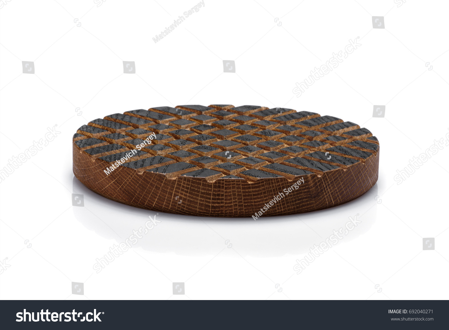 Round wooden stand carved pattern on stock photo edit now
