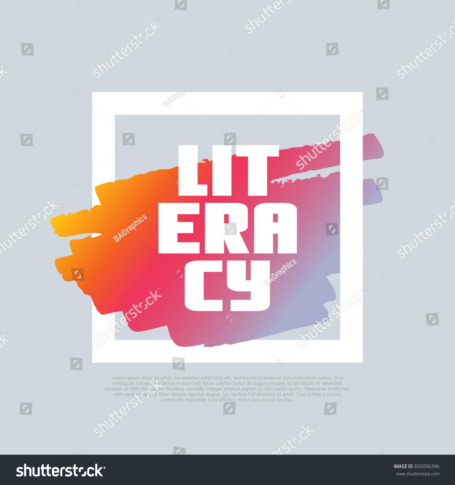 Literacy Vector Clipart Template Poster Motto Stock Vector Royalty