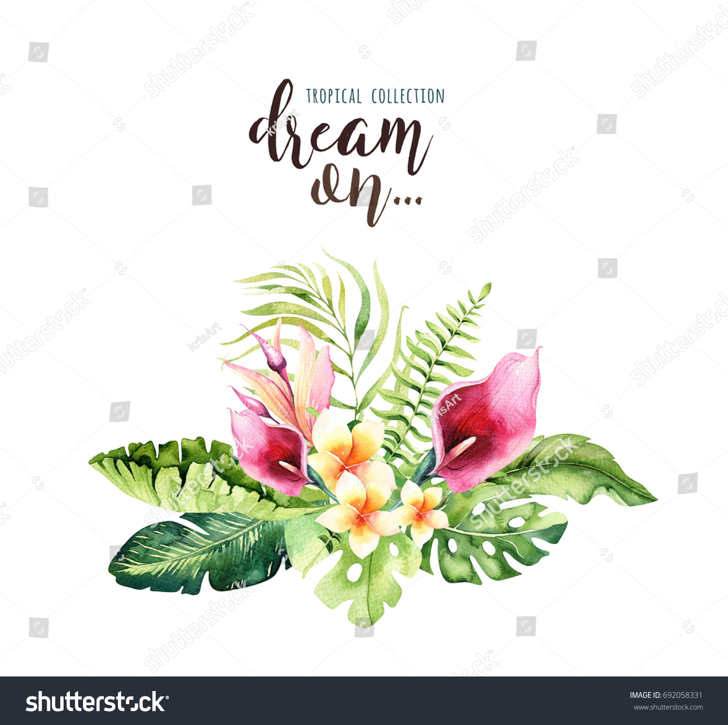 Hand Drawn Watercolor Tropical Flower Bouquets Stock Illustration ...
