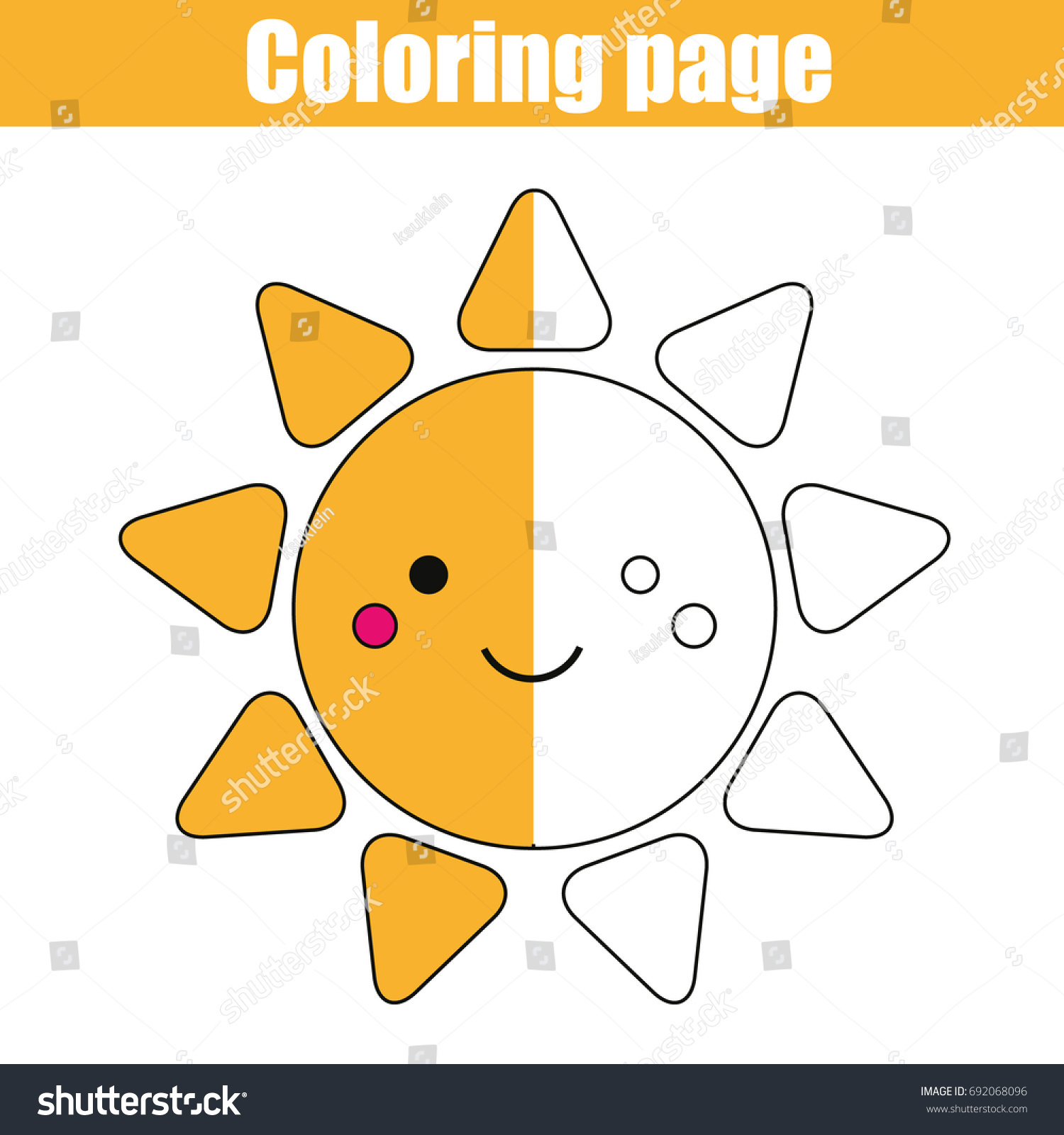 coloring page cute smiling sun character stock vector 692068096