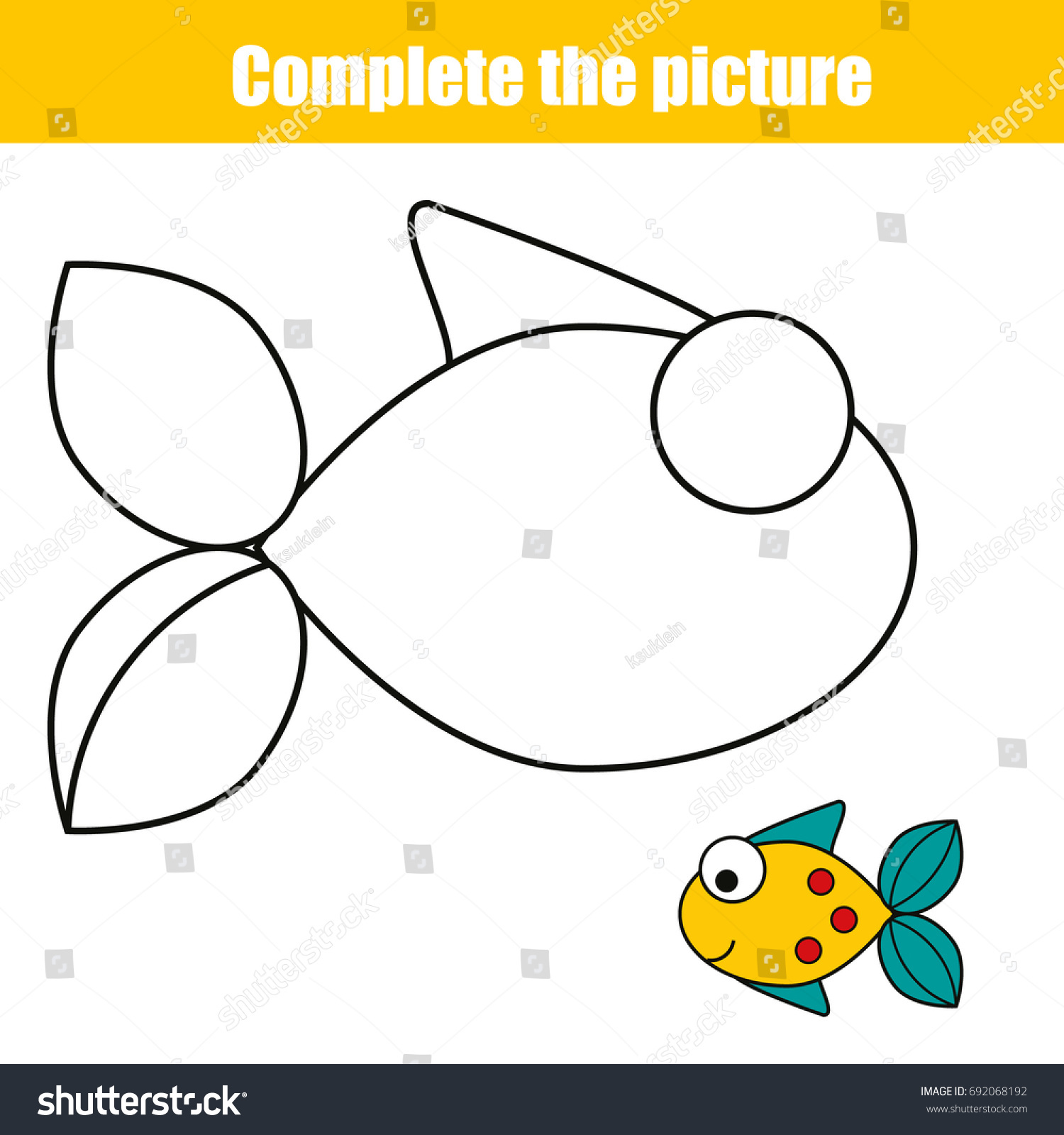 Complete The Picture Children Educational Game Coloring Page Kids Activity Sheet With Fish