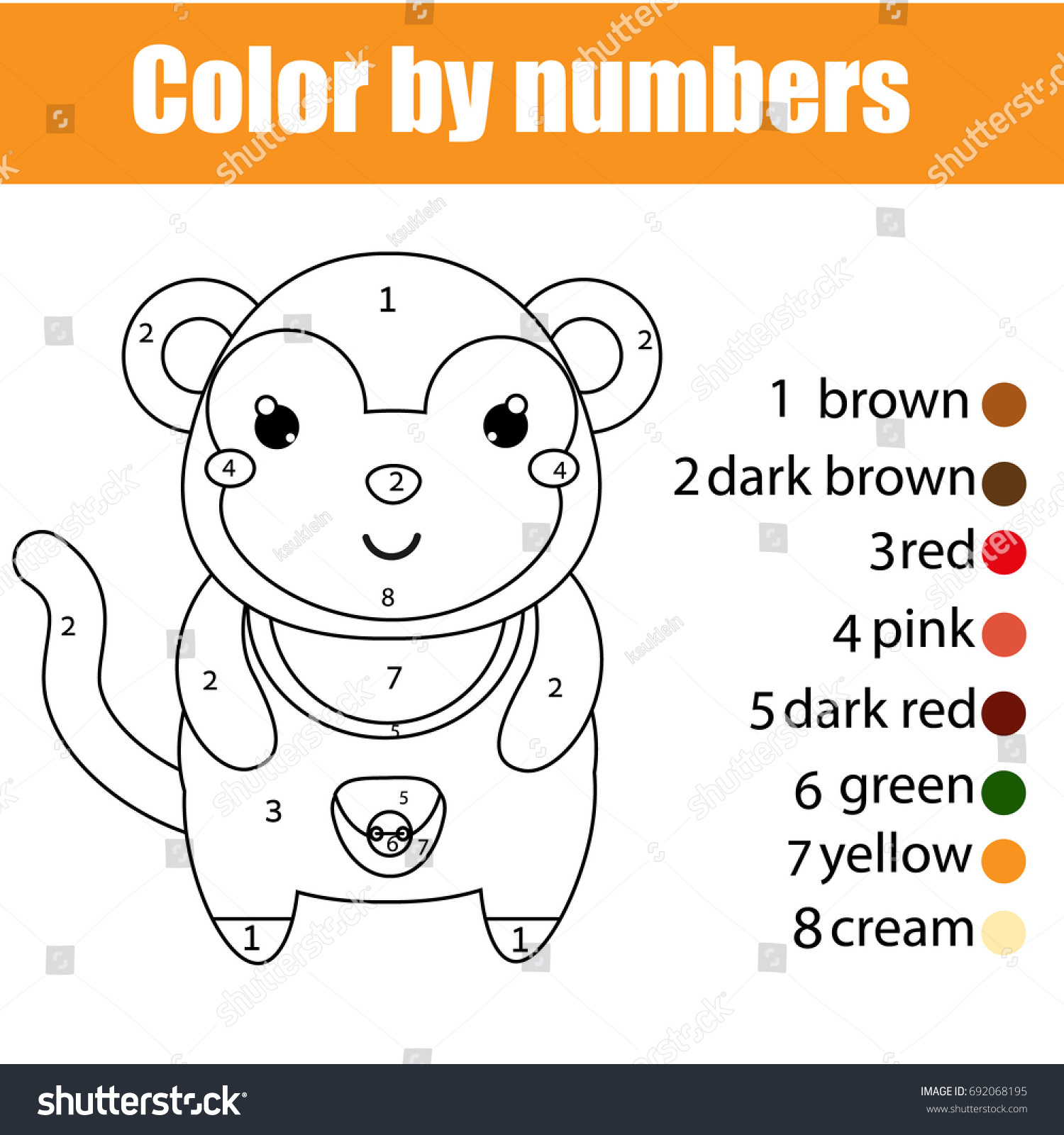 Coloring Page Monkey Color By Numbers Stock Vector 692068195 ...