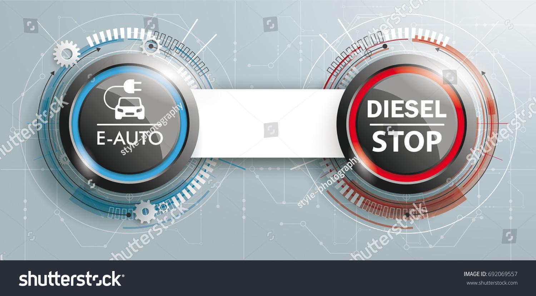 Ecar Button Button Diesel Stop Circuit Stock Vector (2018) 692069557 ...