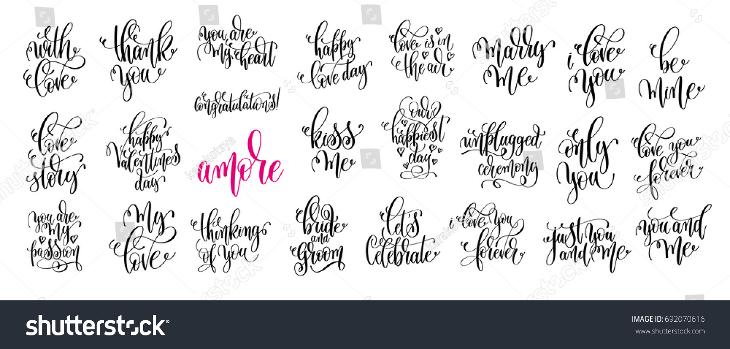 Set 25 Hand Lettering Wedding Invitation Stock Photo (Photo, Vector ...