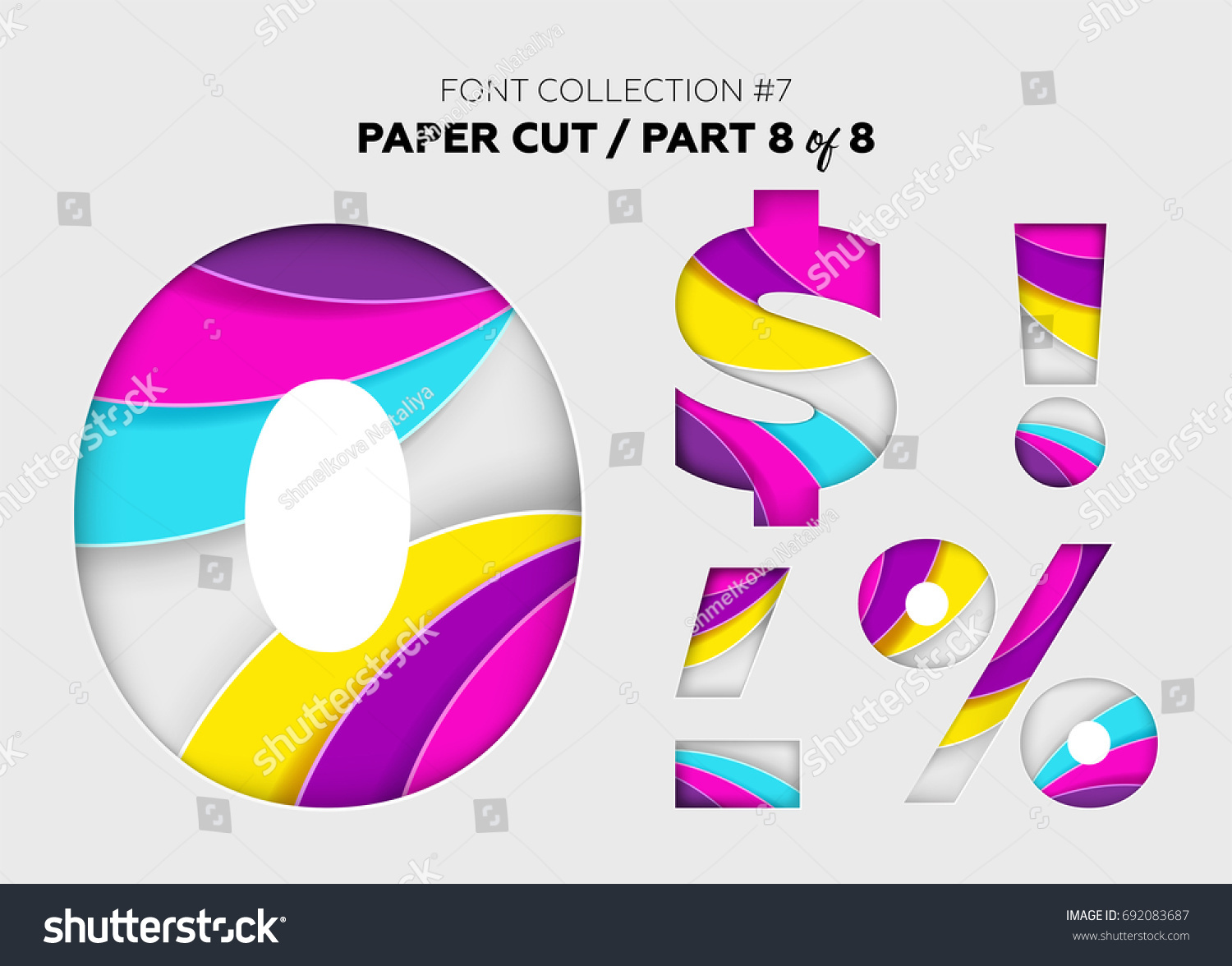 Carved Paper Art Font Design Beautiful Stock Vector - Amazing artist carves beautiful designs paper