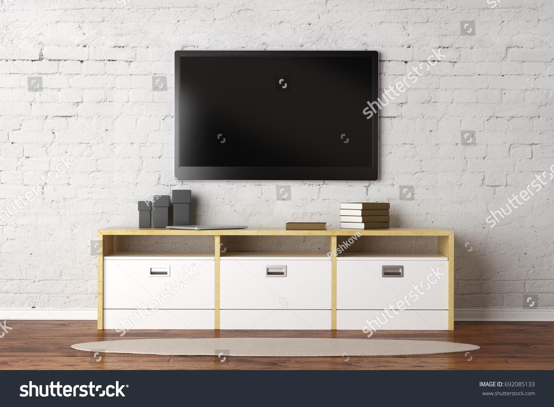 TV Set Empty Screen Living Room Stock Illustration 692085133 ...