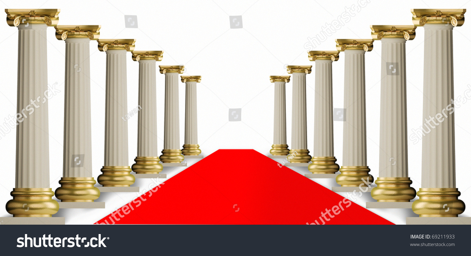 Red Carpet Andclassic Greek Column Stock Photo 69211933