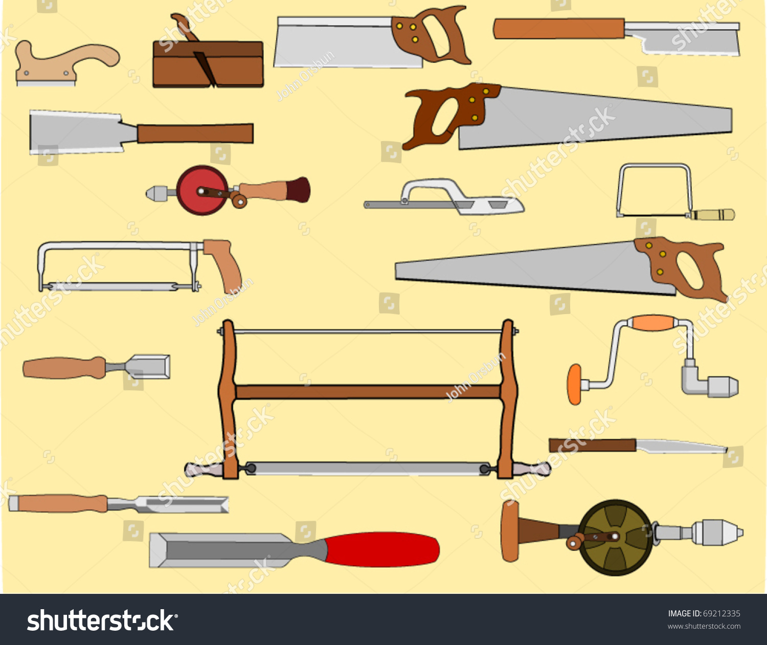 Vector Drawing Assortment Woodworking Hand Tools Stock Vector