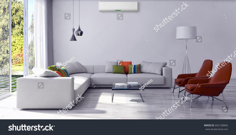 Modern Bright Living Room Lounge Interior Stock Illustration