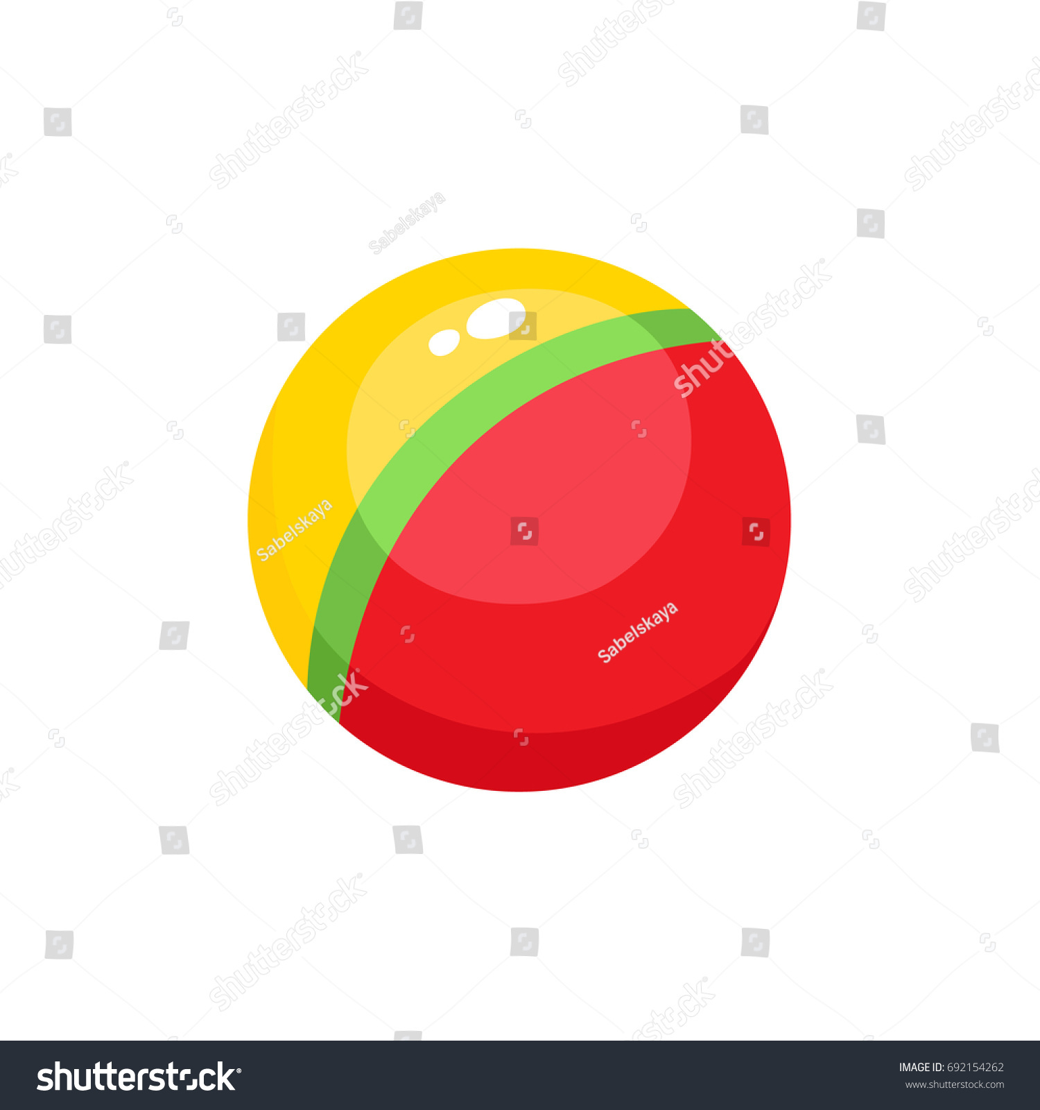 Vector Baby Ball Toy Flat Illustration Stock Vector