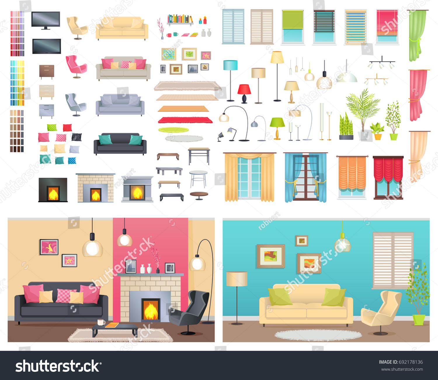 Modern Interiors Of Two Different Comfortable Flats. Illustration Of  Various Furniture And Decoration Items.