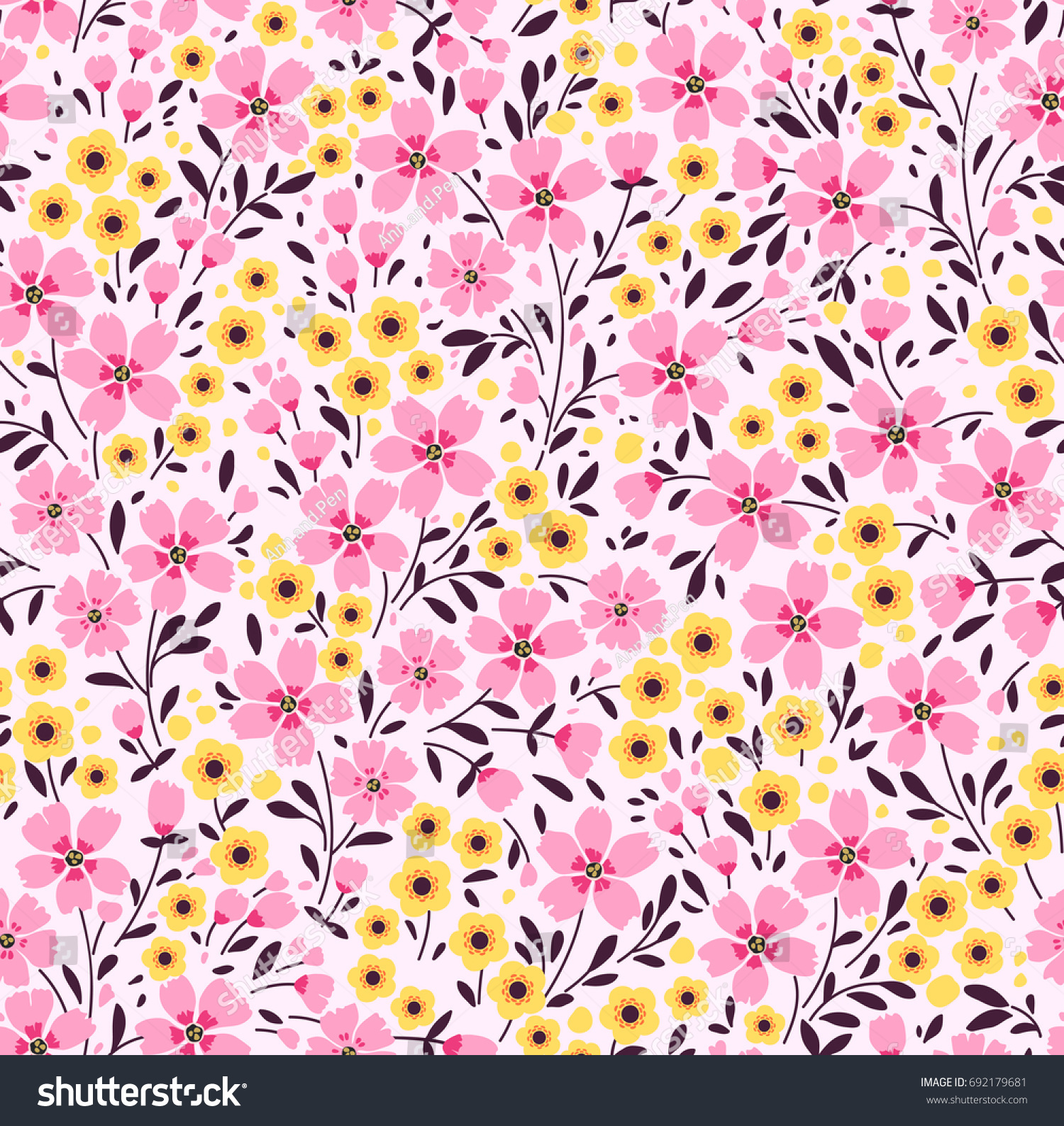 Floral Pattern Pretty Flowers On Dark Stock Vector 692179681