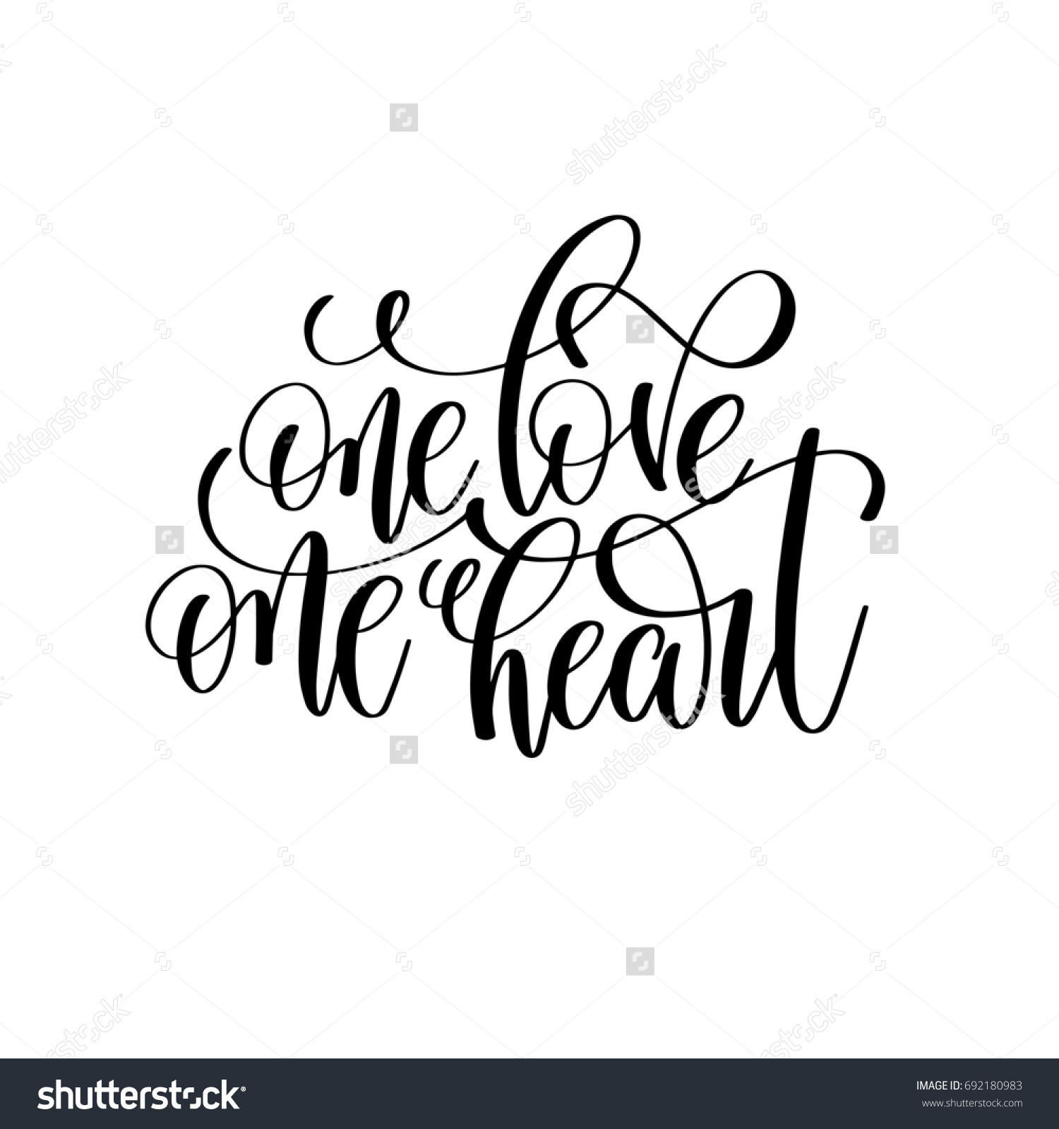 One Love Heart Black And White Hand Lettering Script To Wedding Holiday Invitation Celebration