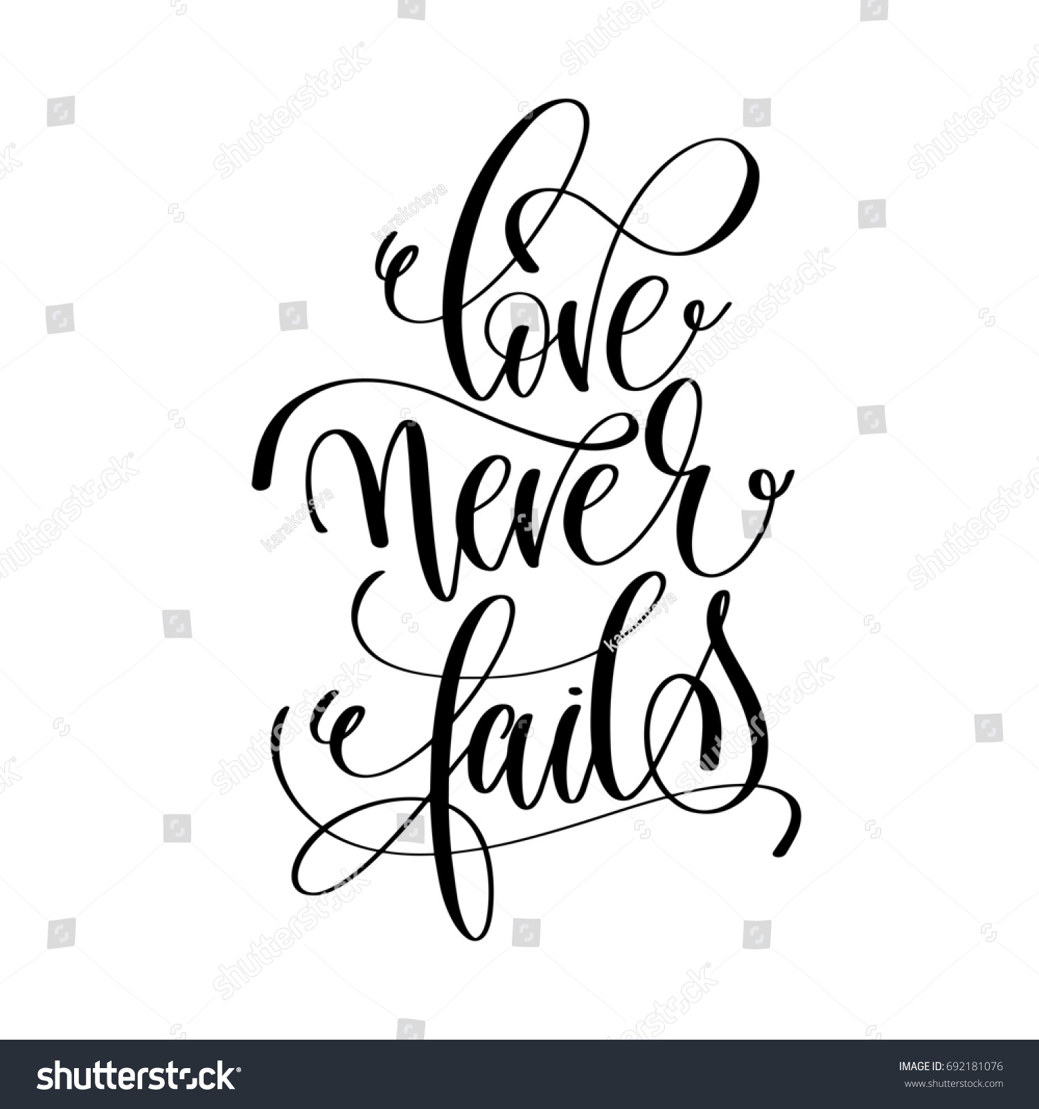 Love Never Fails Quote Love Never Fails Black White Hand Stock Illustration 692181076