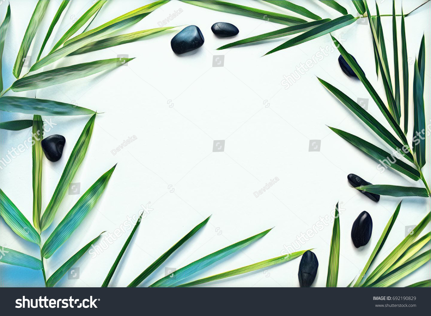 Palm Leaf And Pebble On Blank Background. Tropical Plant Ornament On Table  Top View.