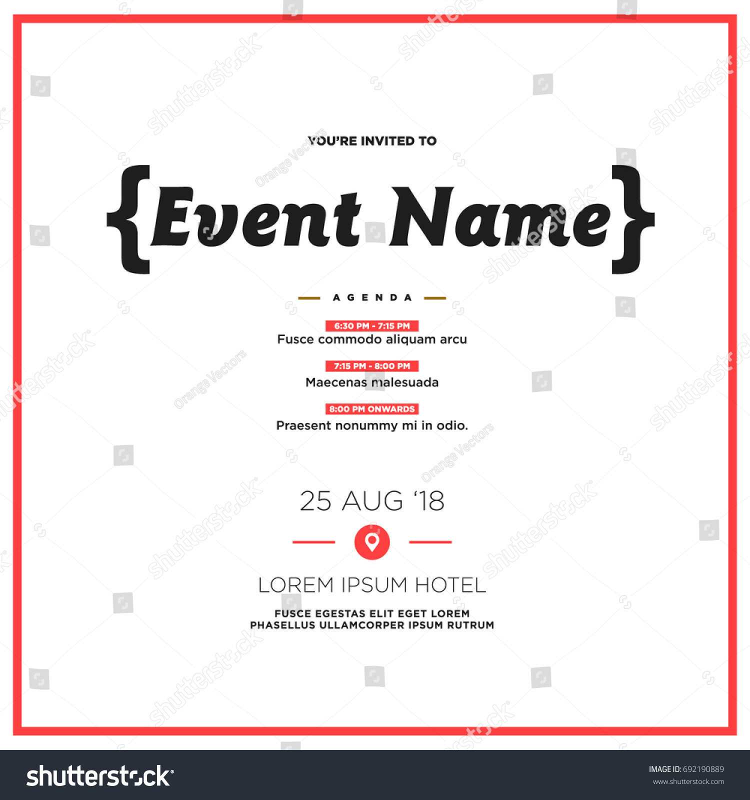 Event invitation template agenda venue date stock vector 692190889 event invitation template with agenda venue and date details stopboris Image collections