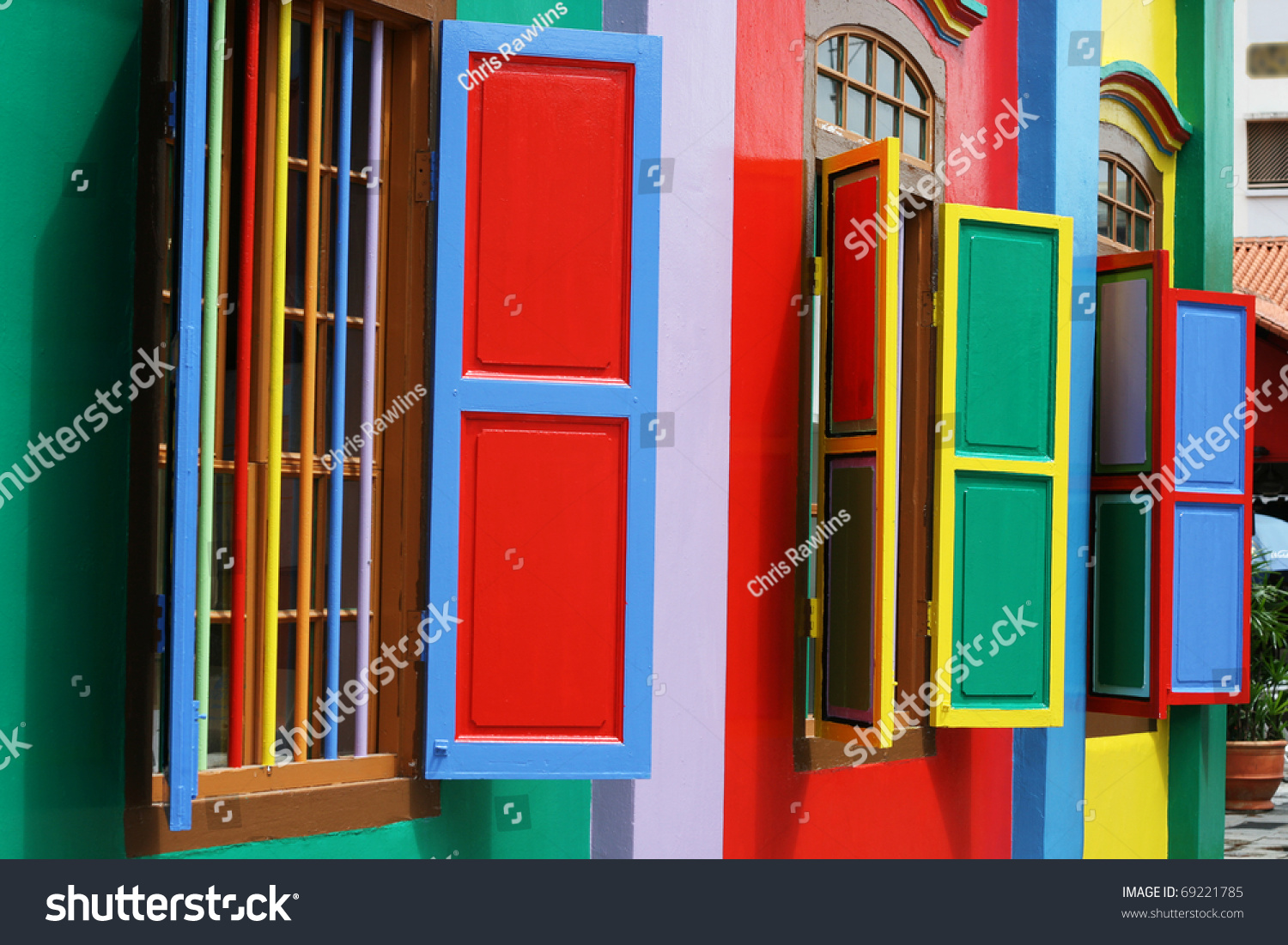 Colorful Windows Detail On Colonial House Stock Photo