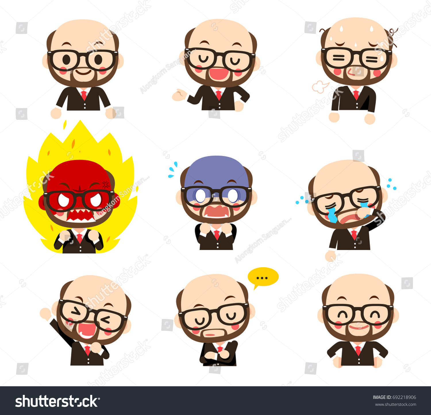 Vector Set Beard Bald Head Male Stock Vector Royalty Free 692218906