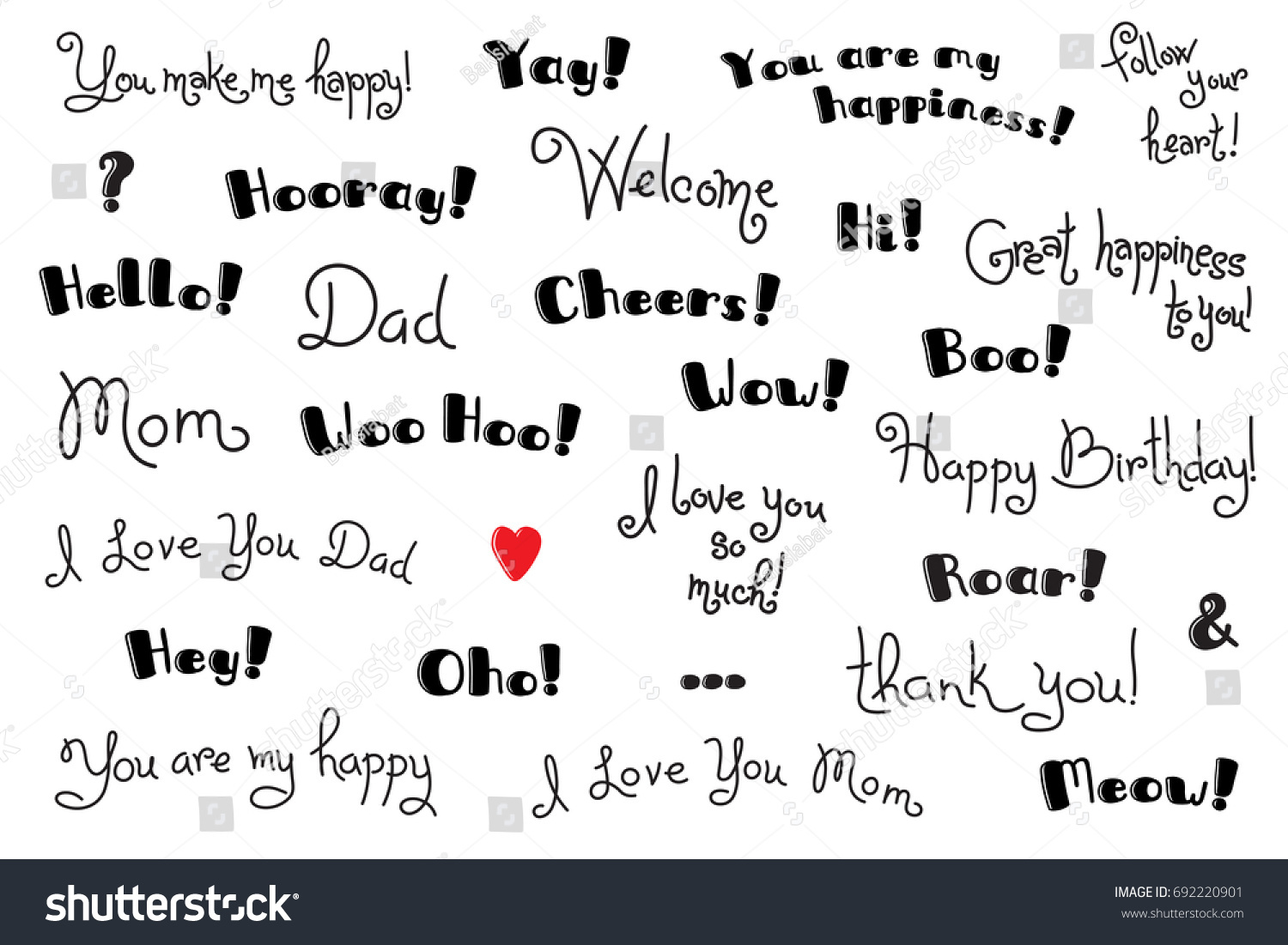 Phrases Interjections Exclamation Words Cover Poster Stock Vector