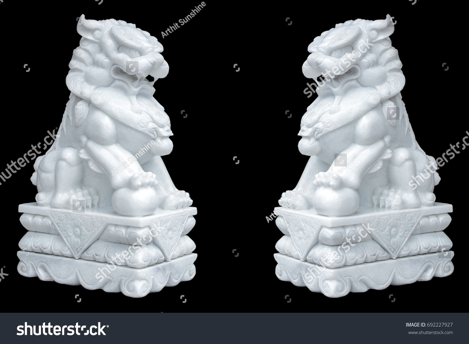 Lion Made Stone Chinese Style Isolated Stock Photo Royalty Free