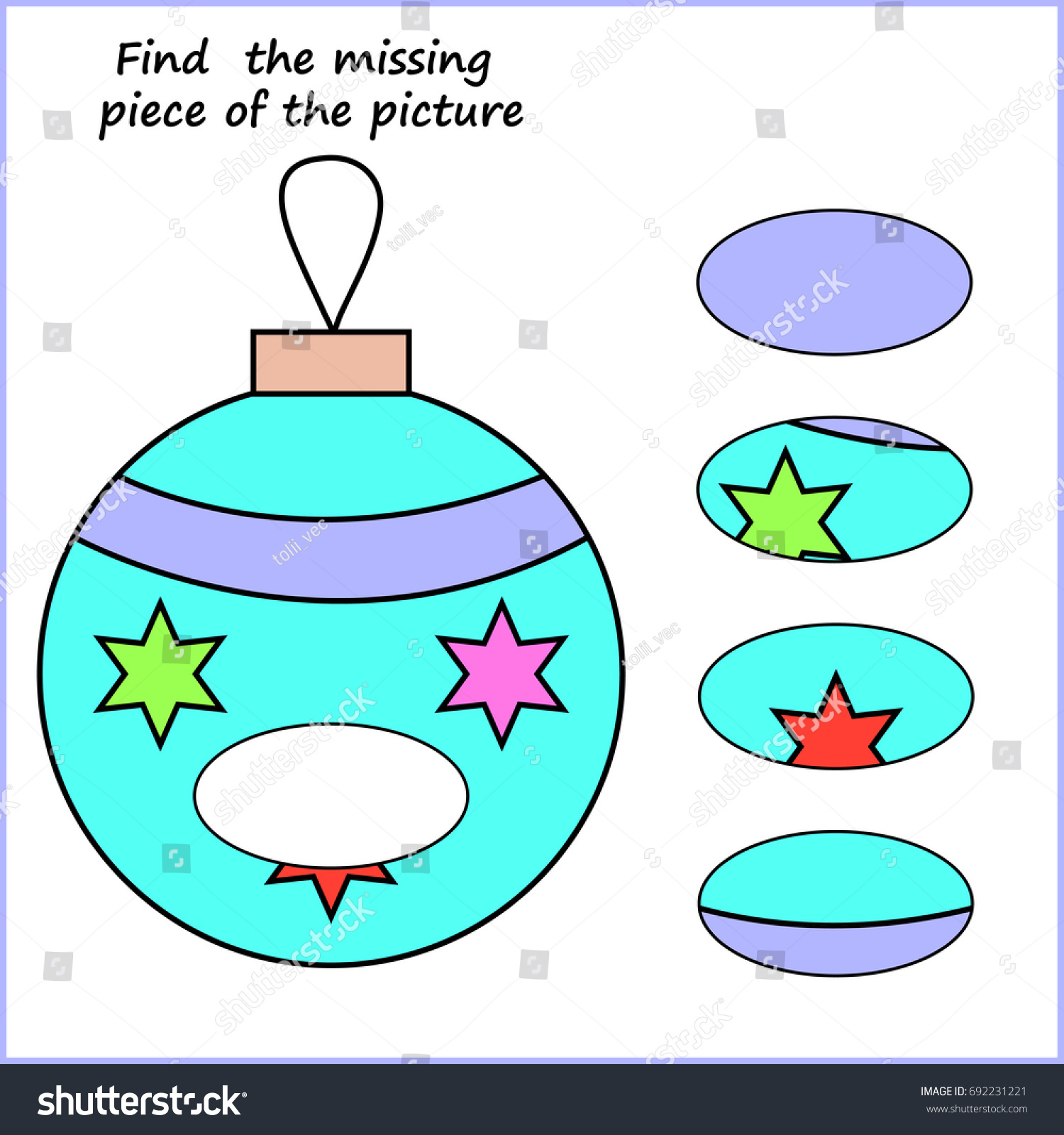 Worksheet Children Visual Logic Puzzle Find Stock Vector (Royalty ...