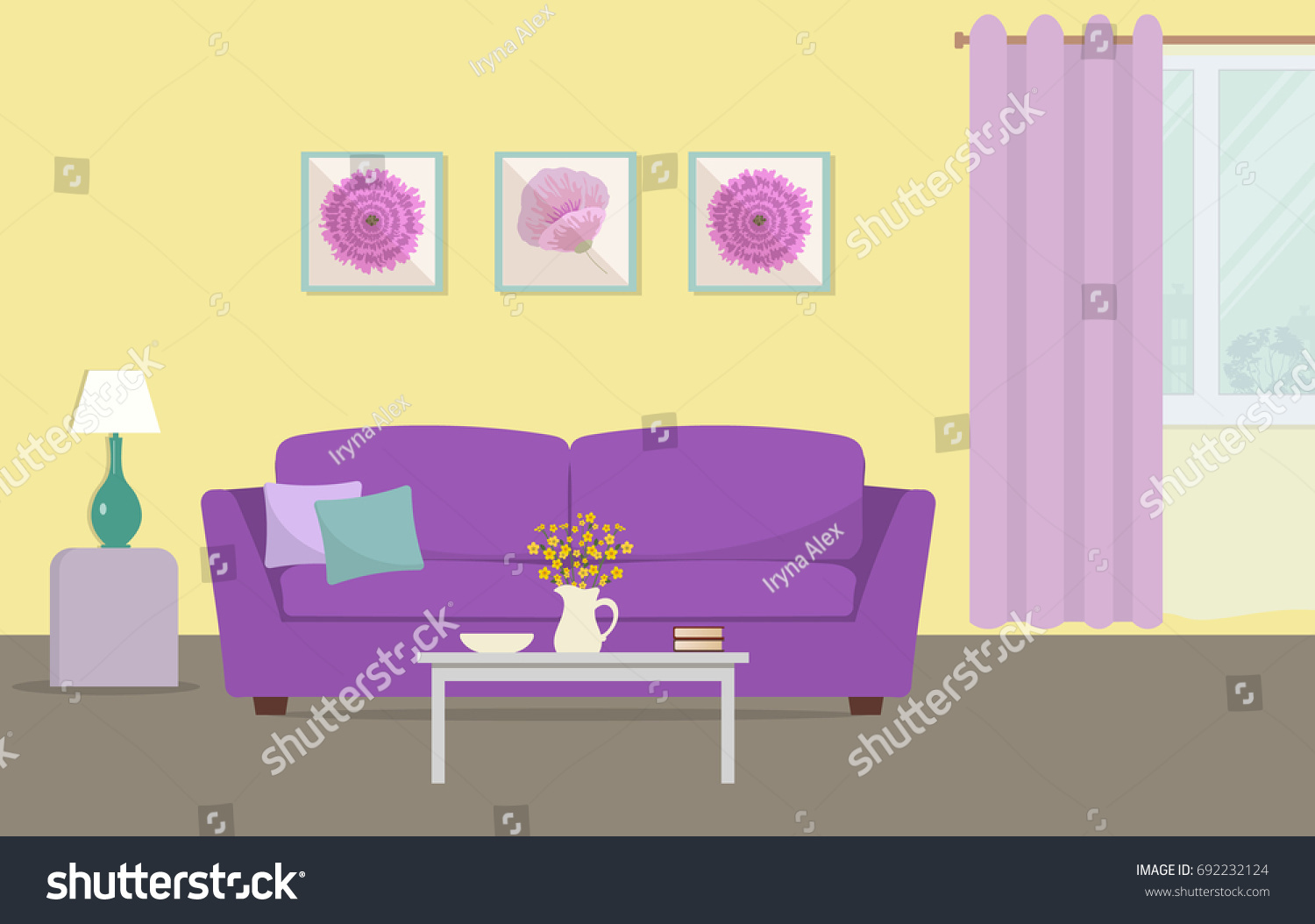 Living Room Yellow Purple Colors There Stock Vector (Royalty Free ...