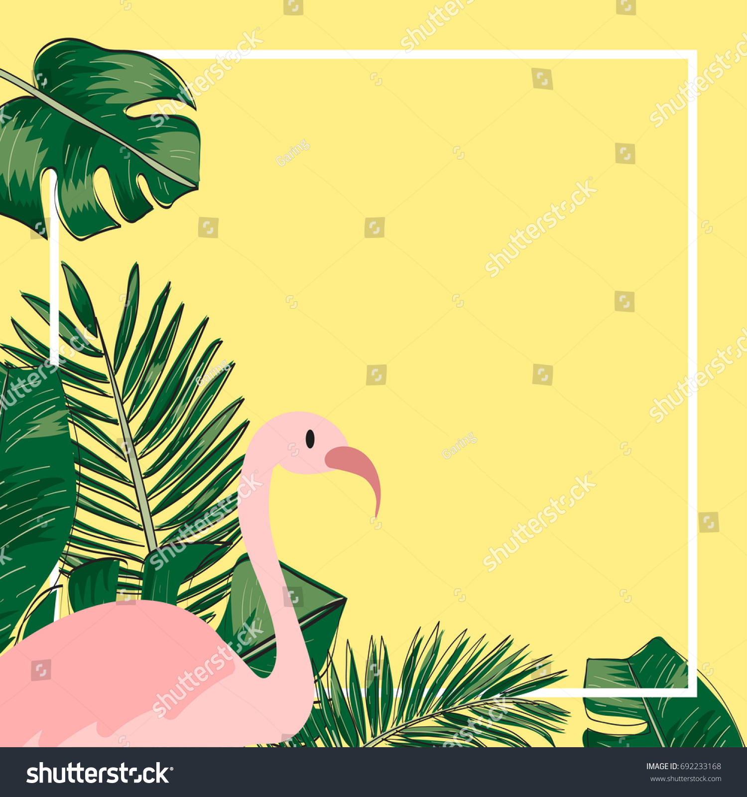 tropical leaves flamingo template background vector illustration