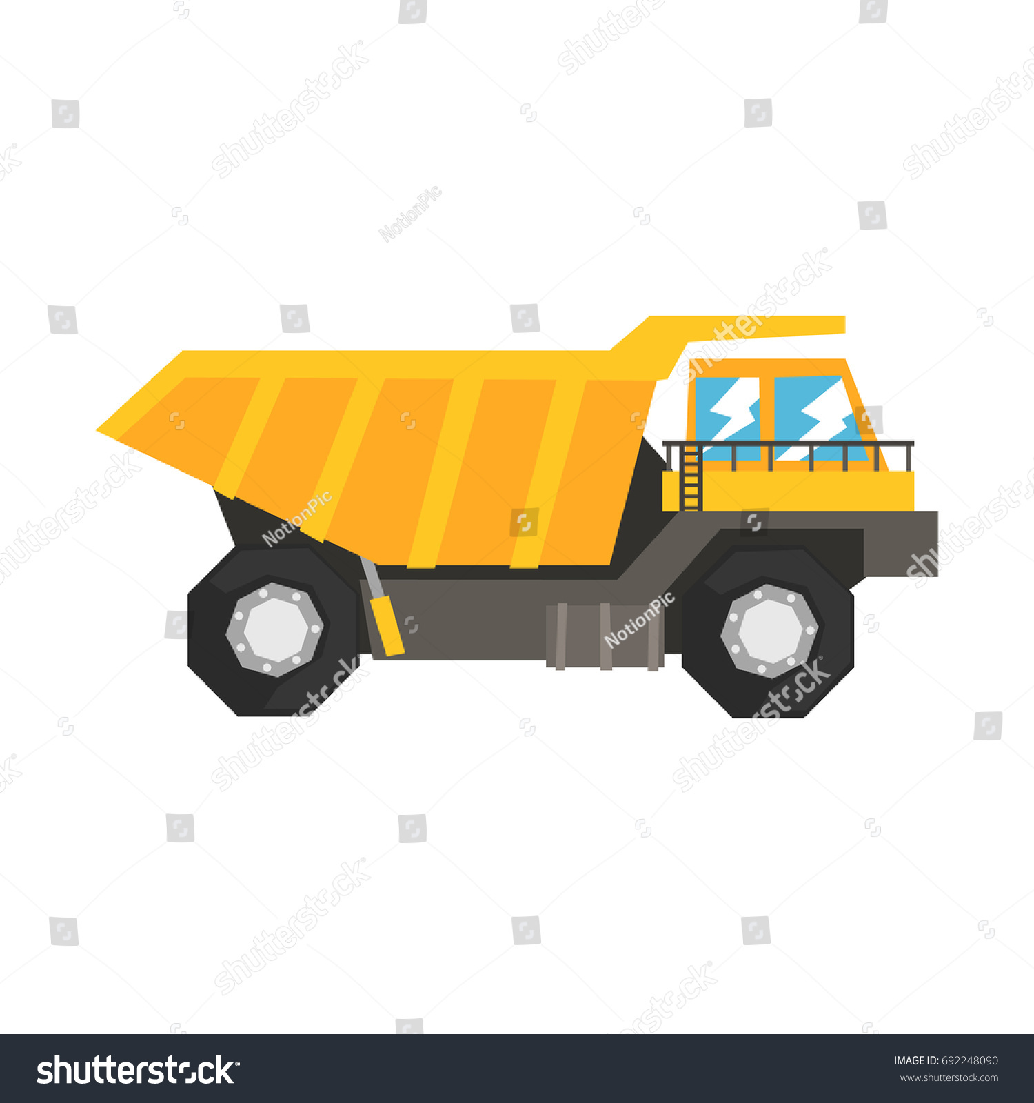 big yellow dump truck heavy industrial stock vector 692248090