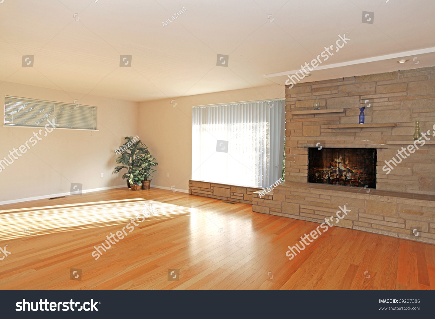 Large Empty Living Room Stone Fireplace Stock Photo 69227386   Shutterstock