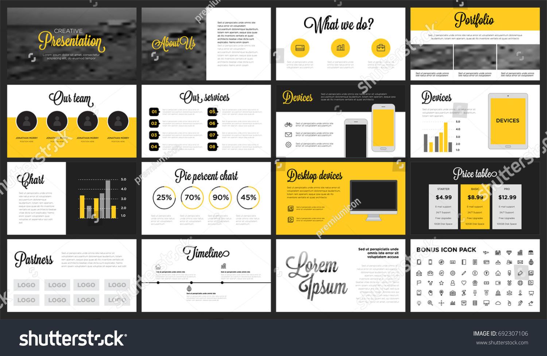 Modern Minimalist Yellow Black Presentation Template Stock Vector